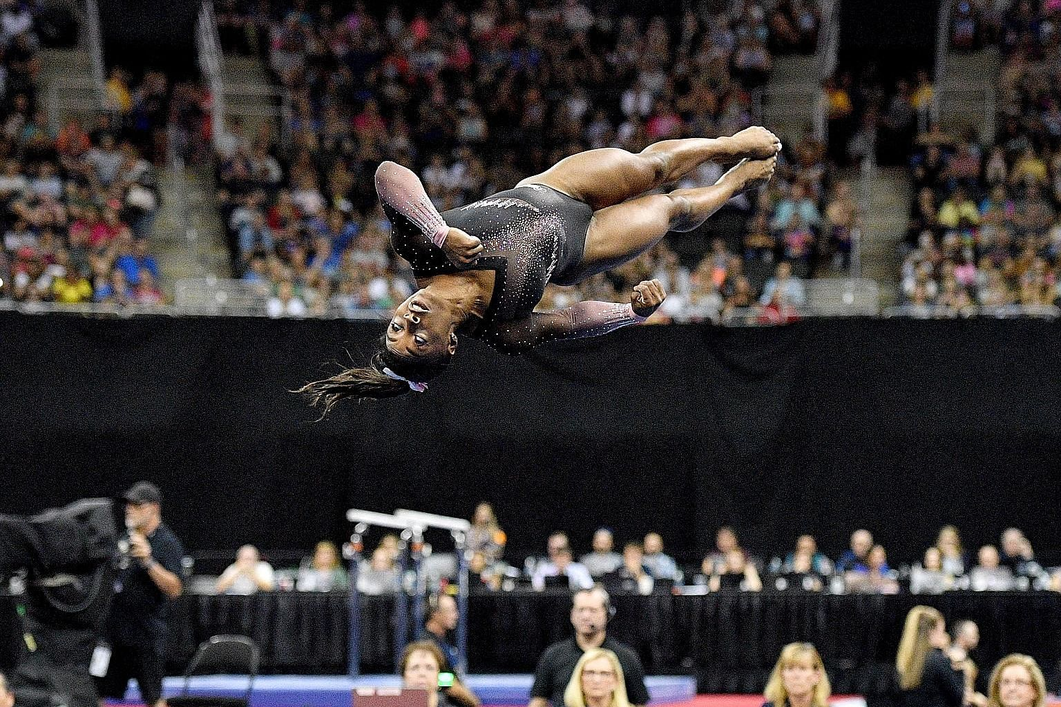 Simone Biles performing her floor routine at the US Gymnastics Championships in Missouri.