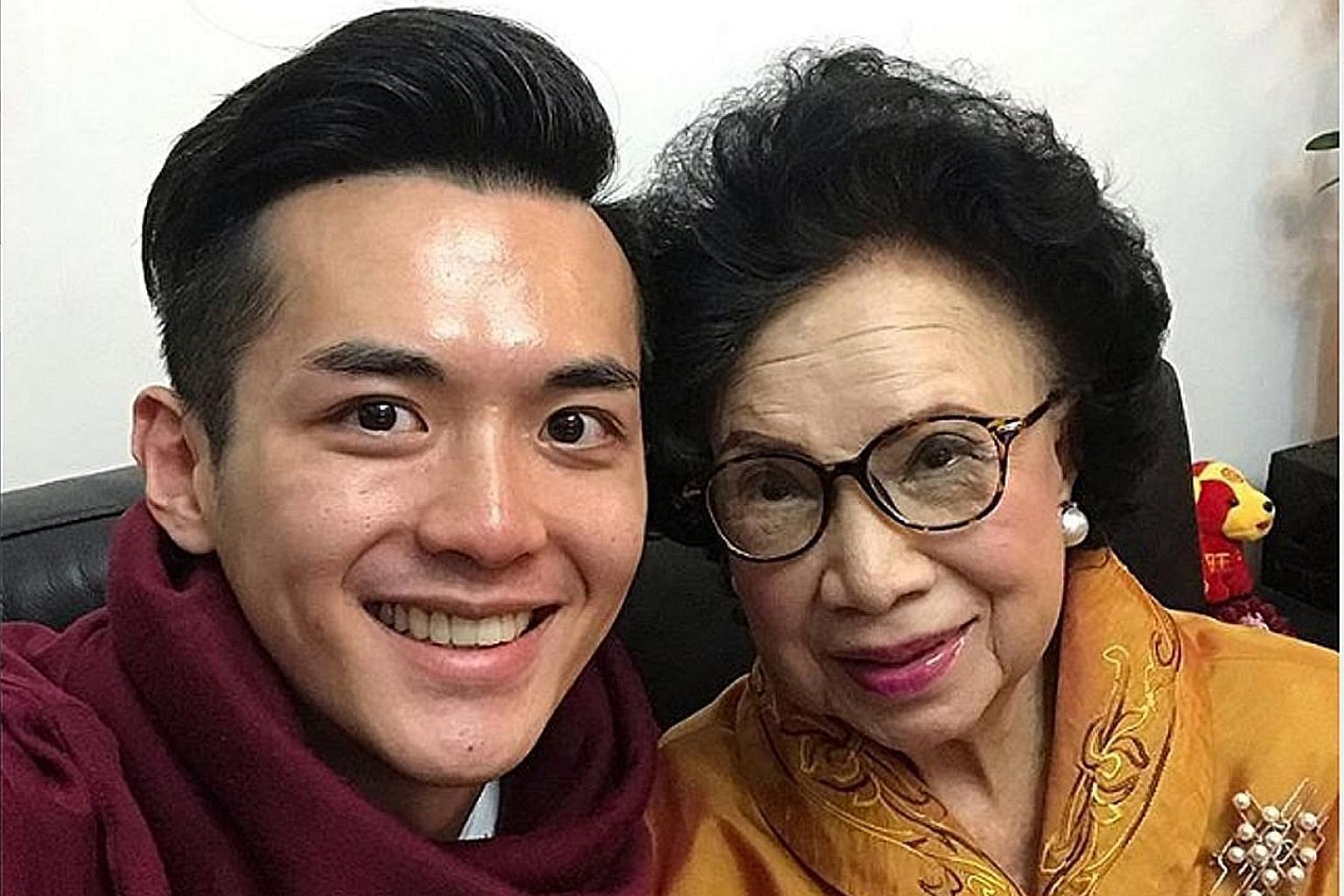 Hong Kong veteran actress Teresa Ha (left) died on Aug 5 at age 81. Uploaded onto Instagram on Feb 5, this photo is of the late veteran actress Lily Leung with her grandson, Hong Kong actor Nicholas Yuen.