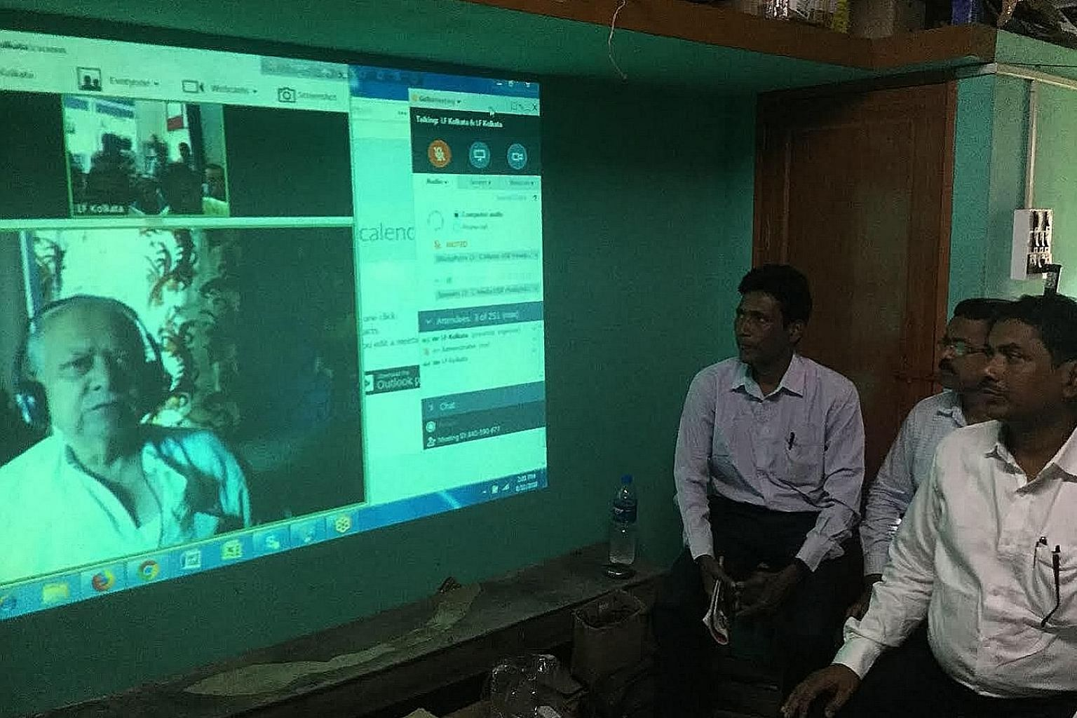 Rural healthcare workers in West Bengal being trained via video conference last year. The not-for-profit Liver Foundation, West Bengal has trained about 3,800 such workers.