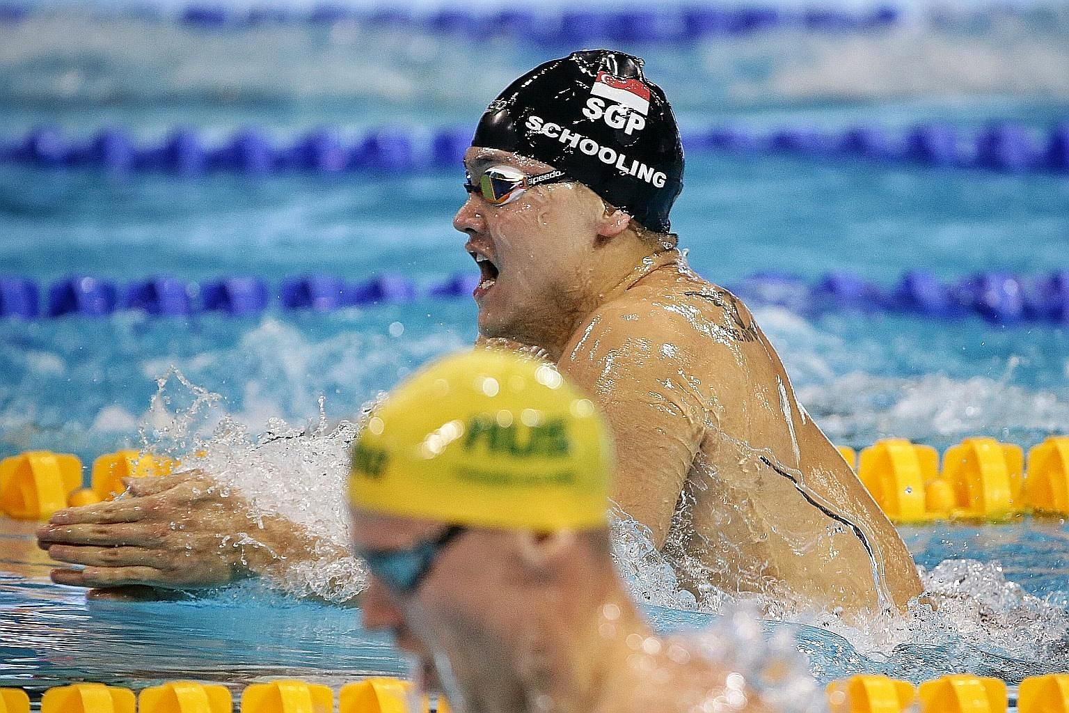 Joseph Schooling competing in the 200m individual medley final of Fina World Cup Singapore leg at the OCBC Aquatic Centre last night. He clocked 2min 0.23sec, just off his national record of 1:59.99, to finish fourth.