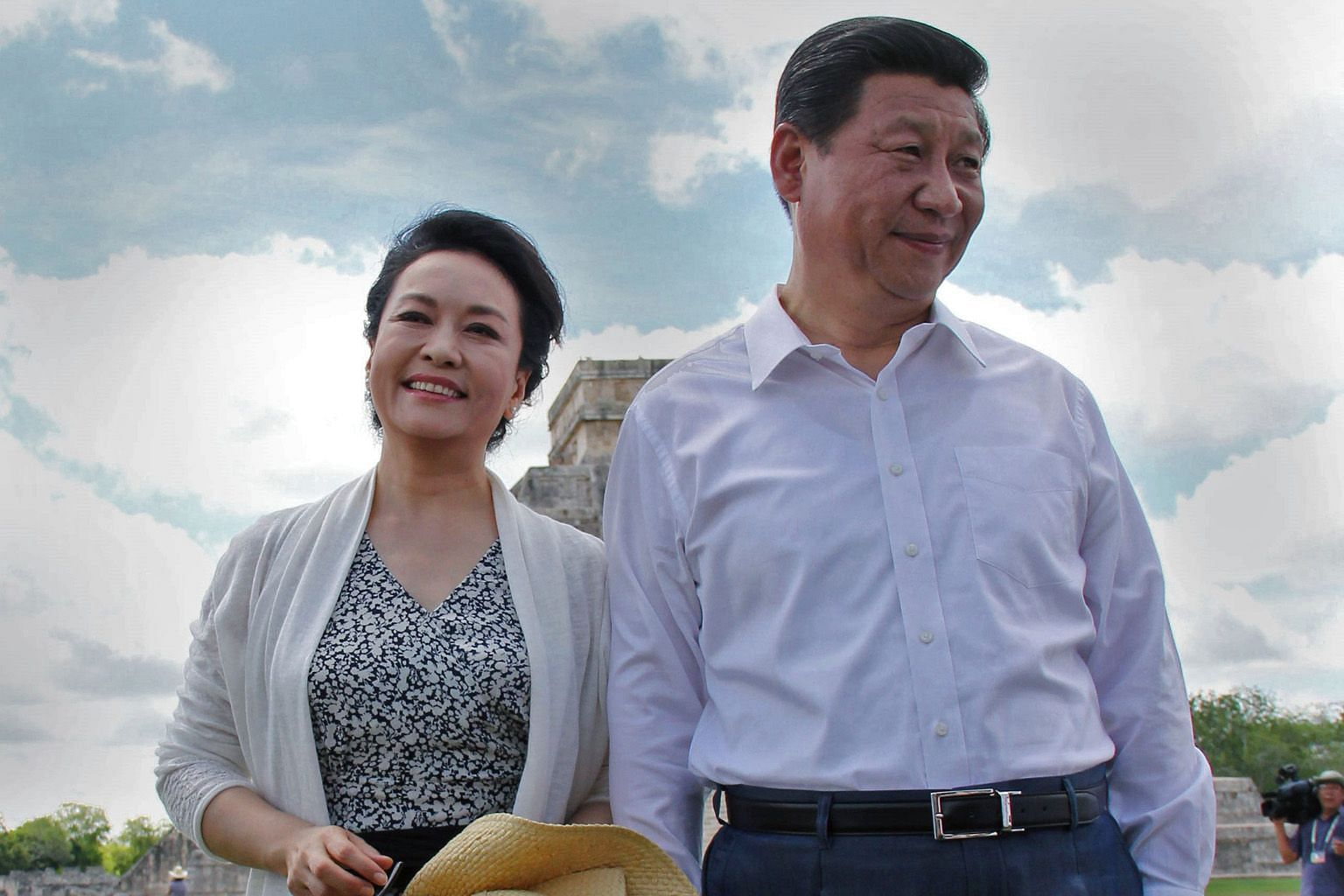 Chinese President Xi Jinping and his wife Peng Liyuan at the Chichen Itza archaeological site in Mexico's Yucatan state in 2013. Details about Mr Xi's marriage were revealed in two articles in Chinese state media.