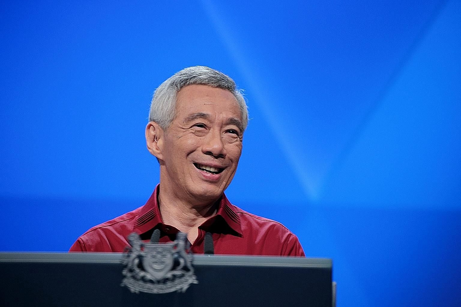 Prime Minister Lee Hsien Loong making his National Day Rally speech at the Institute of Technical Education College Central in Ang Mo Kio yesterday. ST PHOTO: JASON QUAH