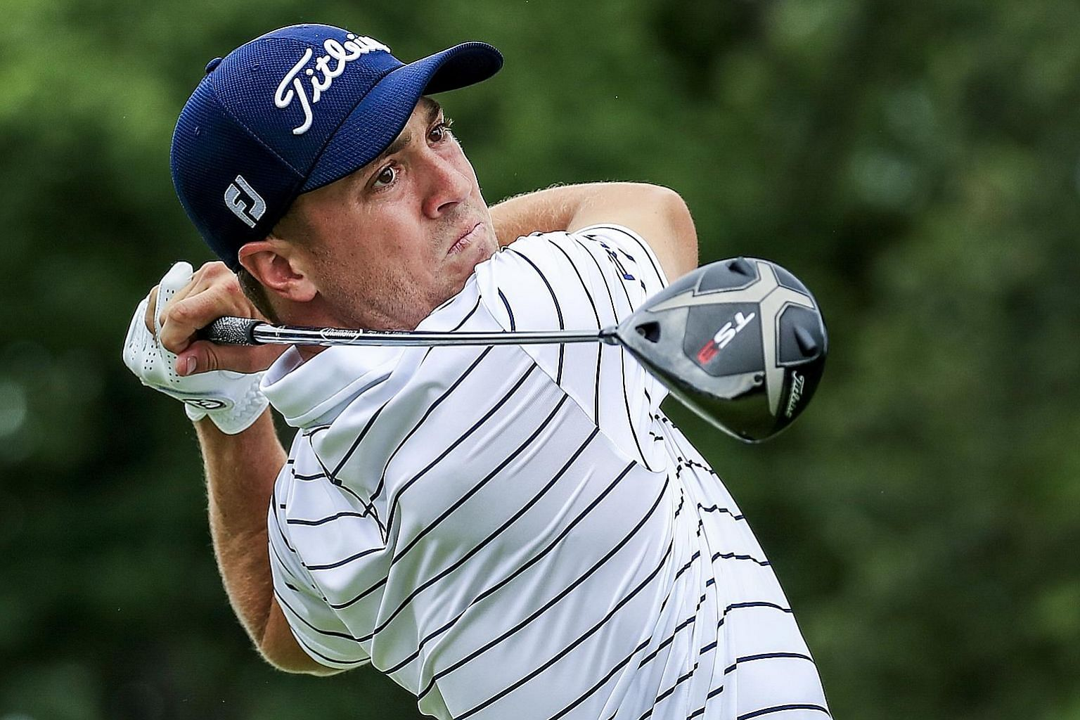 Justin Thomas, with a six-shot lead going into yesterday's fourth round, is in the driver's seat to win the BMW Championship at Medinah Country Club in Illinois. His last title came at the Bridgestone Invitational last August. PHOTO: EPA-EFE