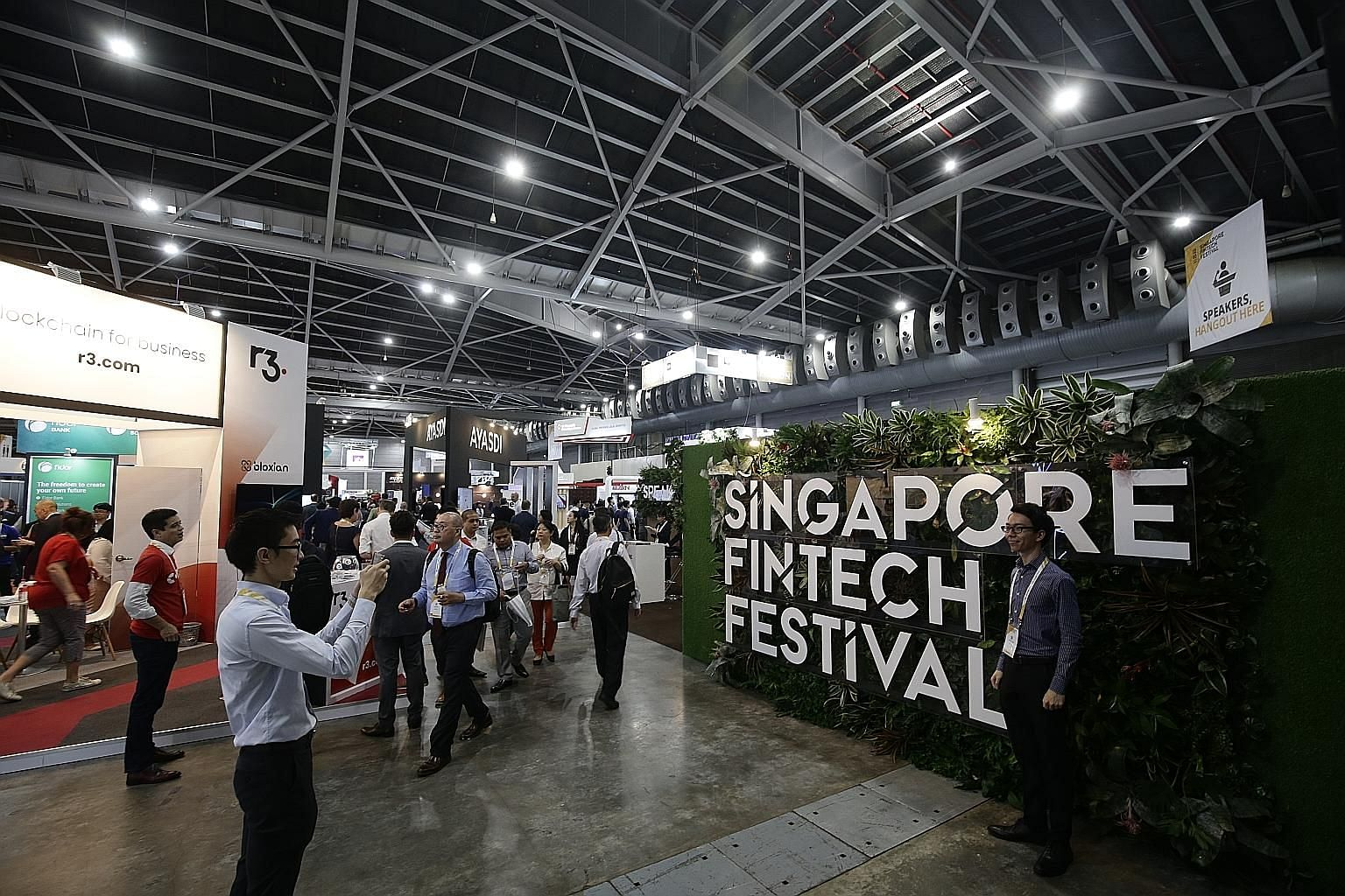 Last year's Singapore FinTech Festival at the Singapore Expo. The fintech industry here is estimated to employ 6,500 to 10,000 people, based on the extrapolated results of a survey this year by the Singapore FinTech Association and audit firm PwC Sin