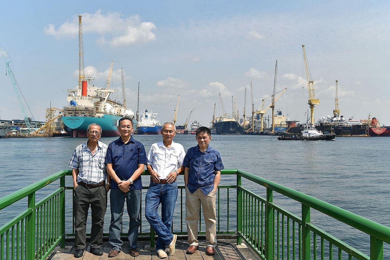 (From left): Mr Lai Pak Shen, Mr Eugene Koh, Mr Wong Fook Seng and Mr Foo Say Nong were all participants in Sembawang Shipyard's apprenticeship programme which ran from 1969 to 1973, during the critical years of Singapore's push towards industrialisa