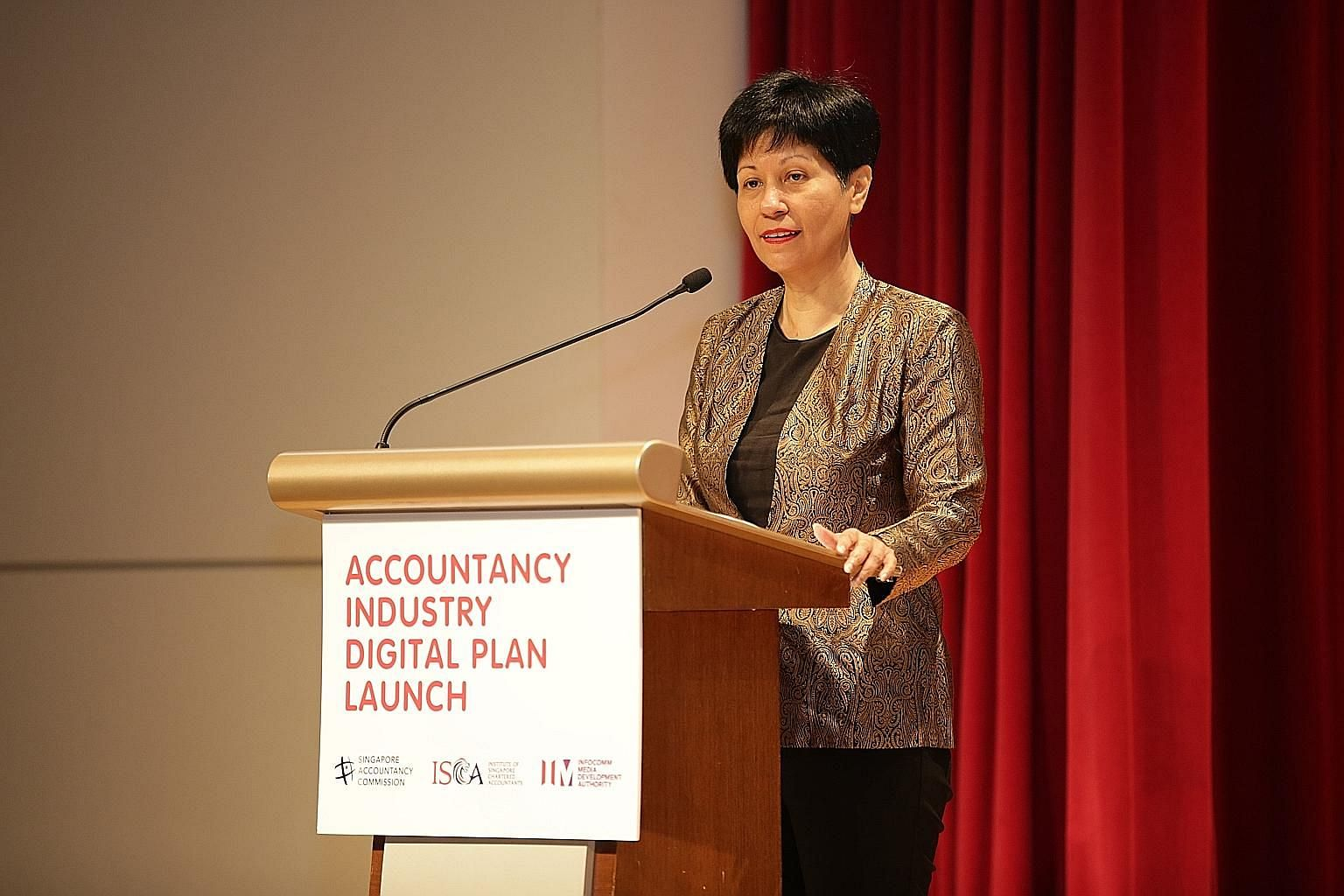 Minister in the Prime Minister's Office Indranee Rajah at the launch of the Accountancy Industry Digital Plan yesterday. The guide will help small and medium-sized practices, which account for 98 per cent of the accountancy sector, to explore opportu