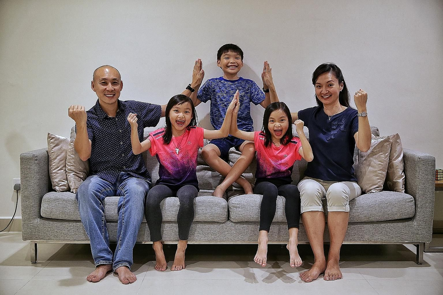 The New family - Mr Norman New, his wife Lim Li, and their son Nathan and twin daughters Shania (left) and Shavon - followed a series of eco-friendly living tips over seven days, such as using handkerchiefs instead of tissue paper and switching to ba