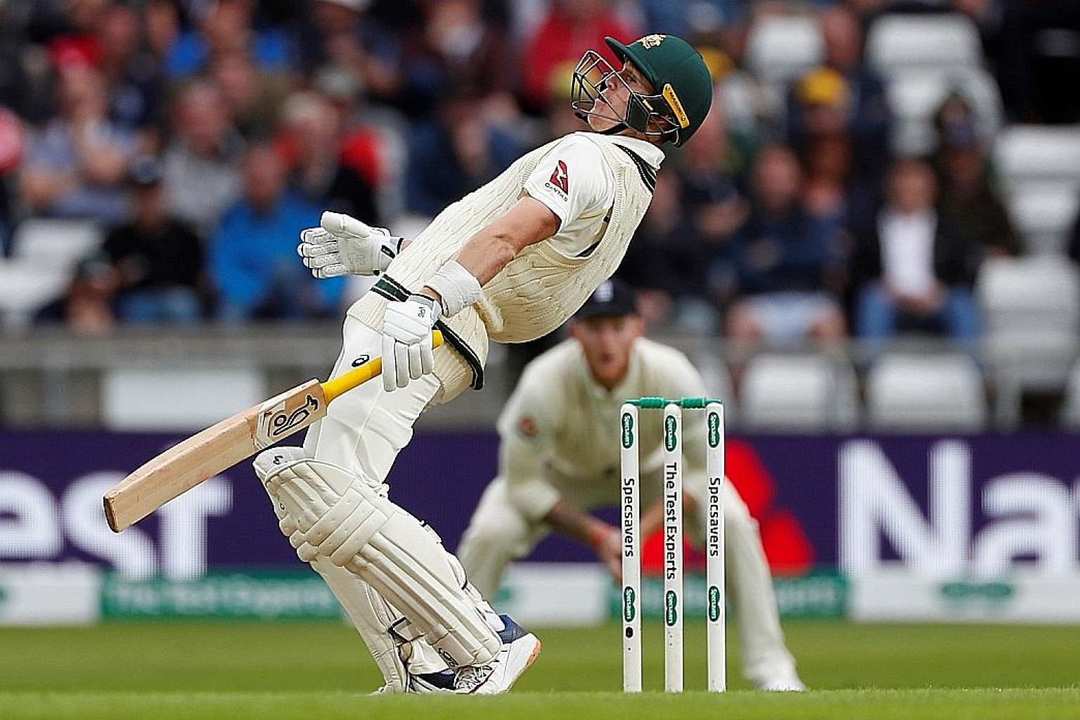 Australian batsman Marnus Labuschagne evading a bouncer from England on day one of the Third Ashes Test on Thursday at Headingley, Leeds.
