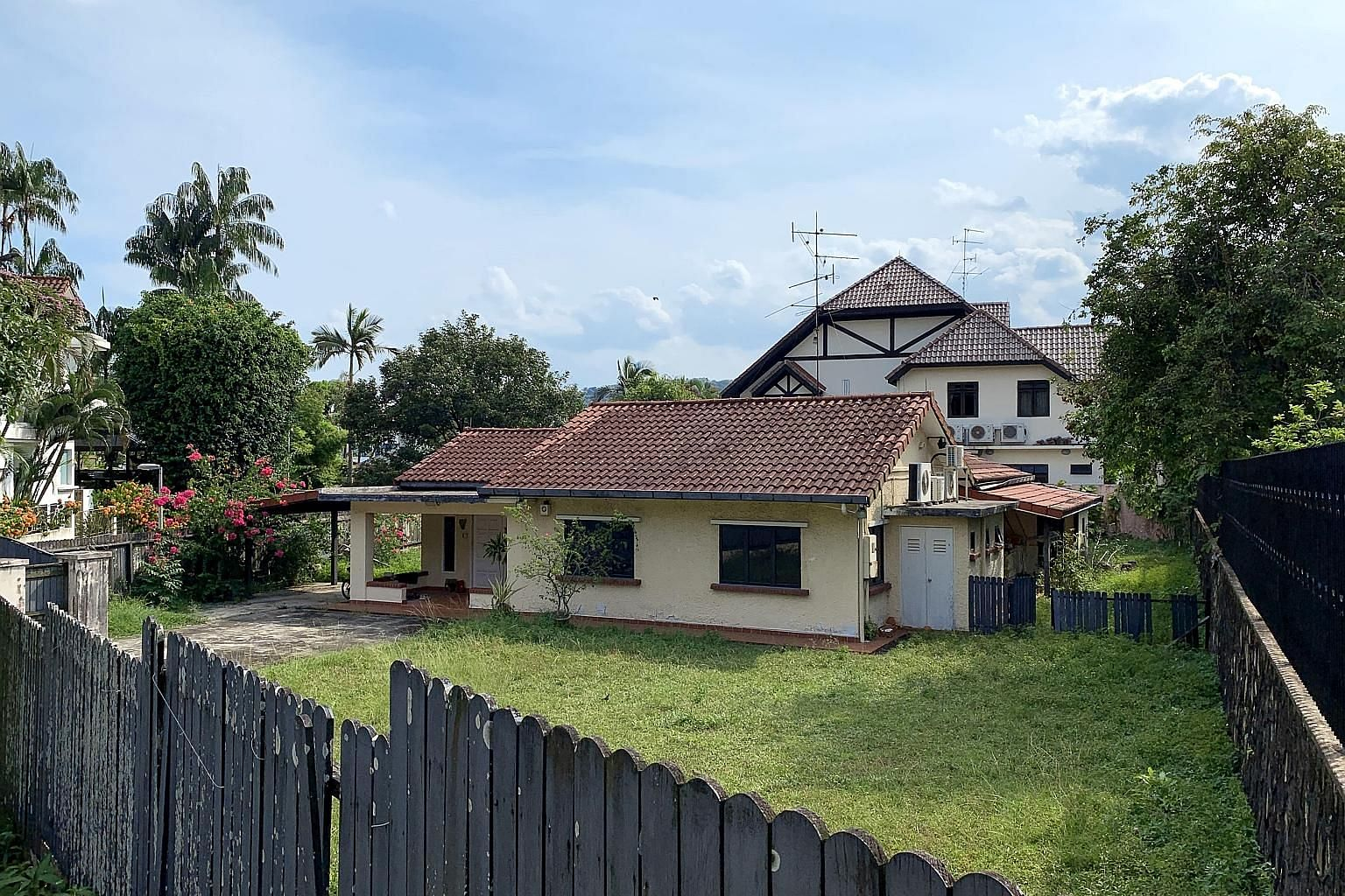 The good class bungalow in Chestnut Crescent to be auctioned on Sept 30 is a freehold property. The single-storey house can be redeveloped to 21/2 storeys. It is near the Cashew and Bukit Panjang MRT stations, and a short drive from Dairy Farm Quarry