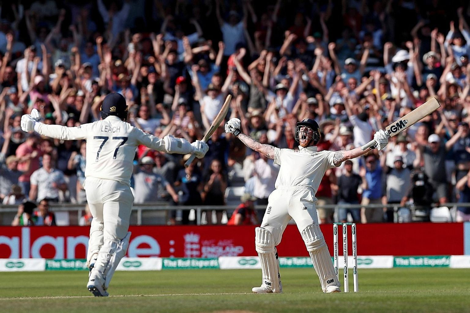 England's Ben Stokes screaming in delight after making the winning run in a last-wicket partnership with Jack Leach in the third Ashes Test against Australia at Headingley, Leeds, on Sunday. England won by one wicket. PHOTO: REUTERS