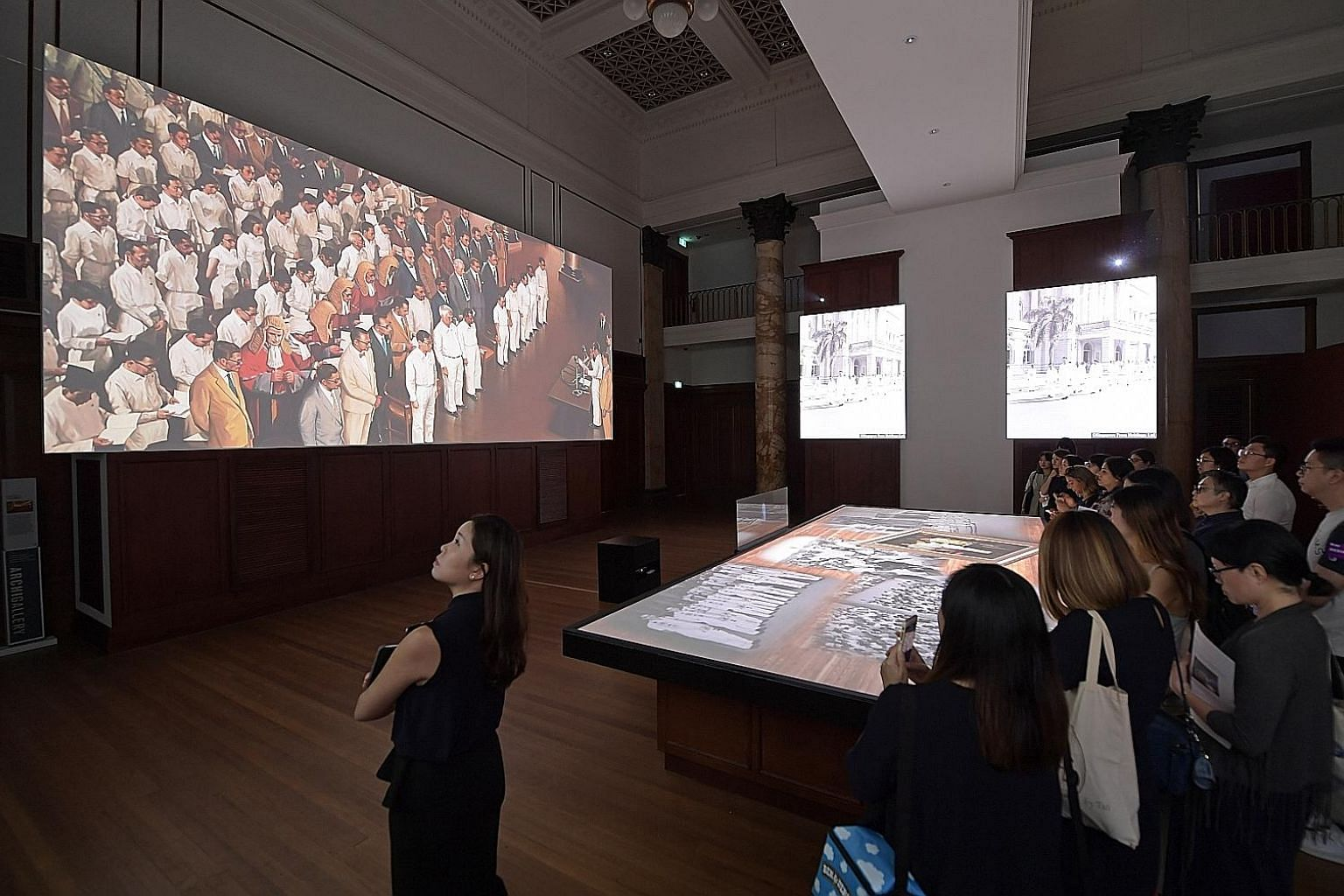 A multimedia show introduces visitors to the history of the old City Hall, which has been the backdrop to key moments in Singapore's history.
