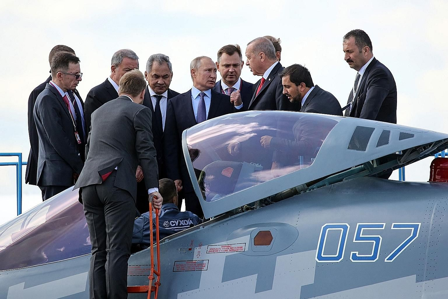 Russian President Vladimir Putin and his Turkish counterpart Recep Tayyip Erdogan inspecting a Sukhoi Su-57 stealth fighter jet at the MAKS-2019 international airshow, a showcase for Russian military technology, in the Moscow region on Tuesday.