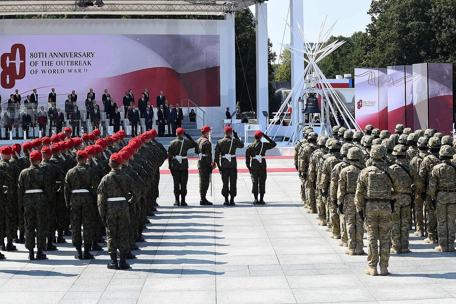Heads of state and officials at a military ceremony, part of commemorations marking 80 years since the outbreak of World War II, at Pilsudski Square in Warsaw, Poland, yesterday. Poland lost about a fifth of its population, including the vast majorit