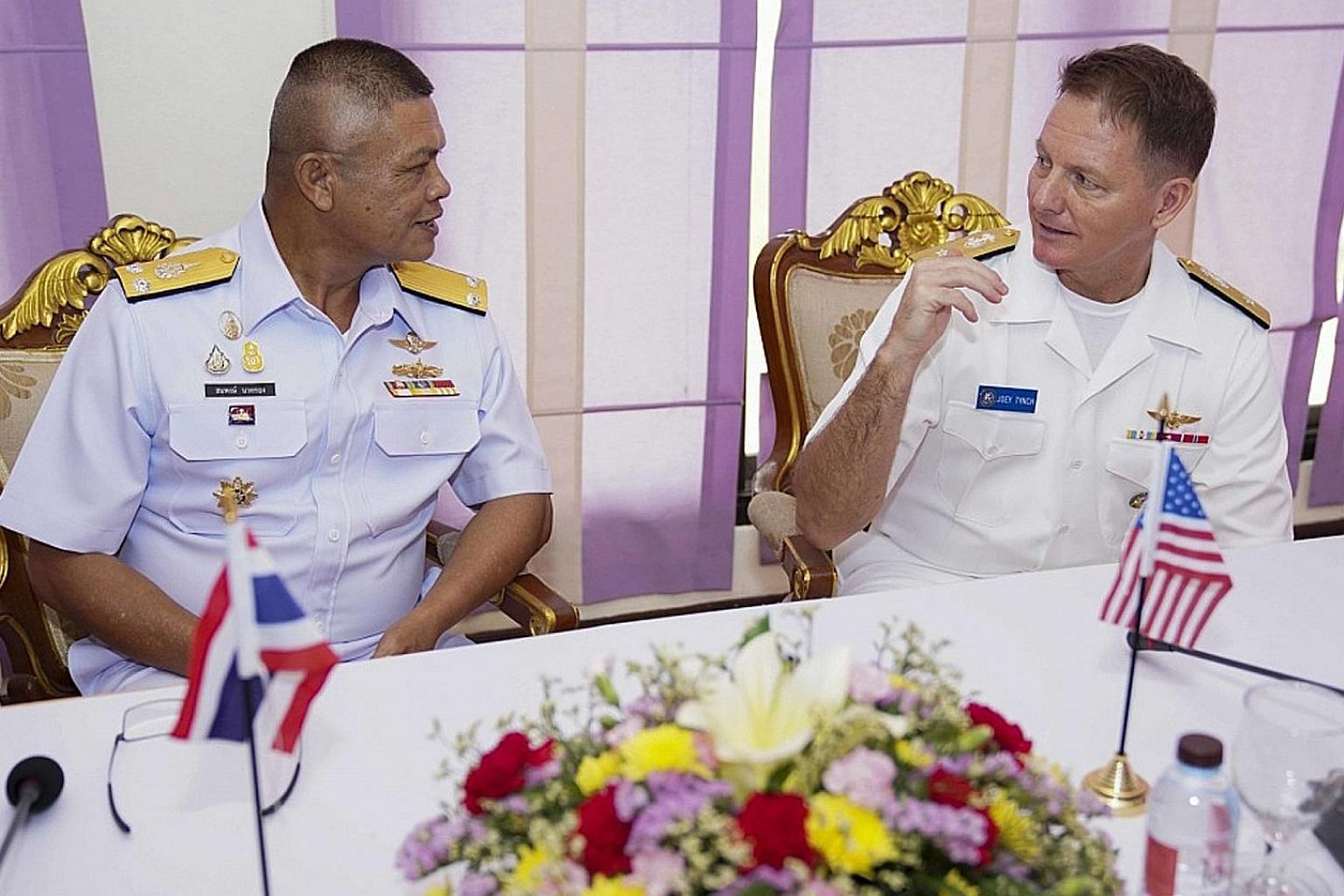 US Navy Rear Admiral Joey Tynch (right) with Royal Thai Navy Rear Admiral Sompong Narkthong during the Asean-US Maritime Exercise on Monday. PHOTO: US NAVY