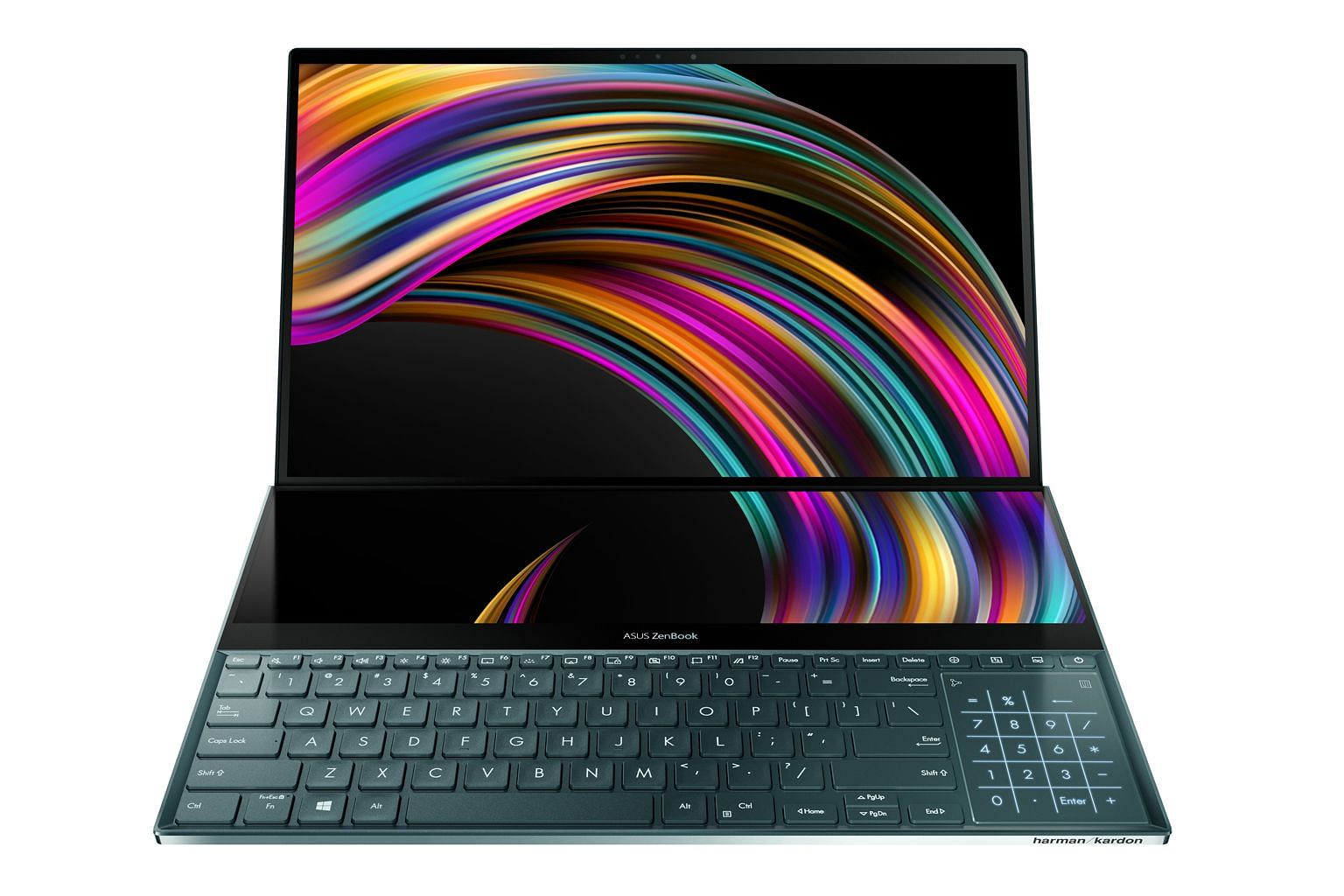 The ZenBook Pro Duo has a second touchscreen above the keyboard.