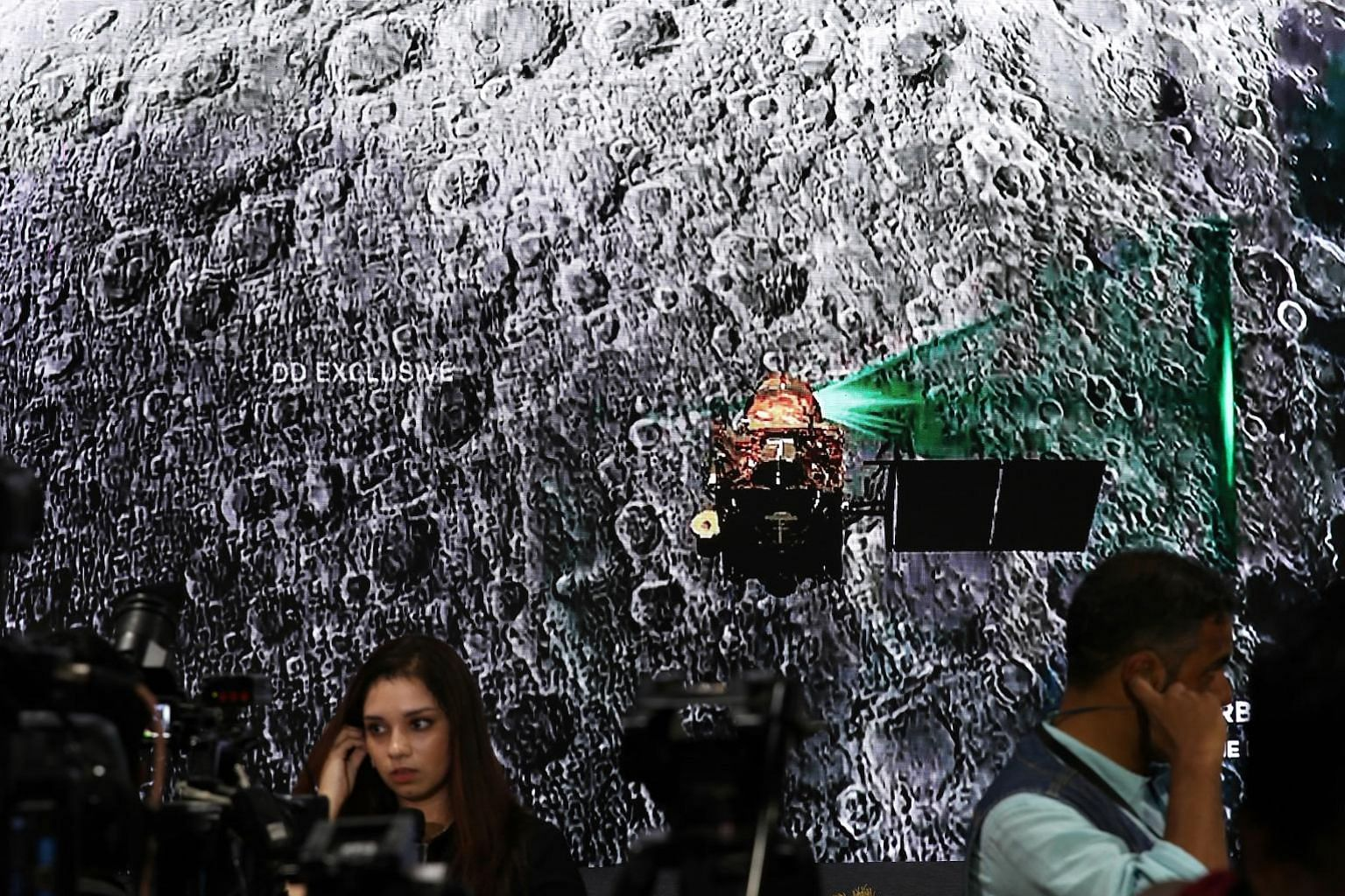 A video on India's Moon mission, Chandrayaan-2, playing on the LED wall of the media centre at the Indian Space Research Organisation's Telemetry Tracking and Command Network (Istrac) command centre in Bangalore on Friday.