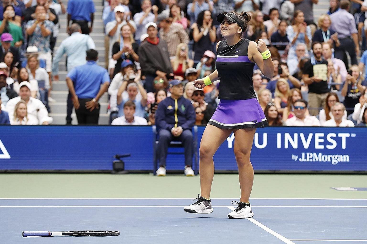 A jubilant Bianca Andreescu after becoming Canada's first Grand Slam champion. She beat Serena Williams 6-3, 7-5 in the US Open final on Saturday to extend the American's wait for a 24th major singles title.