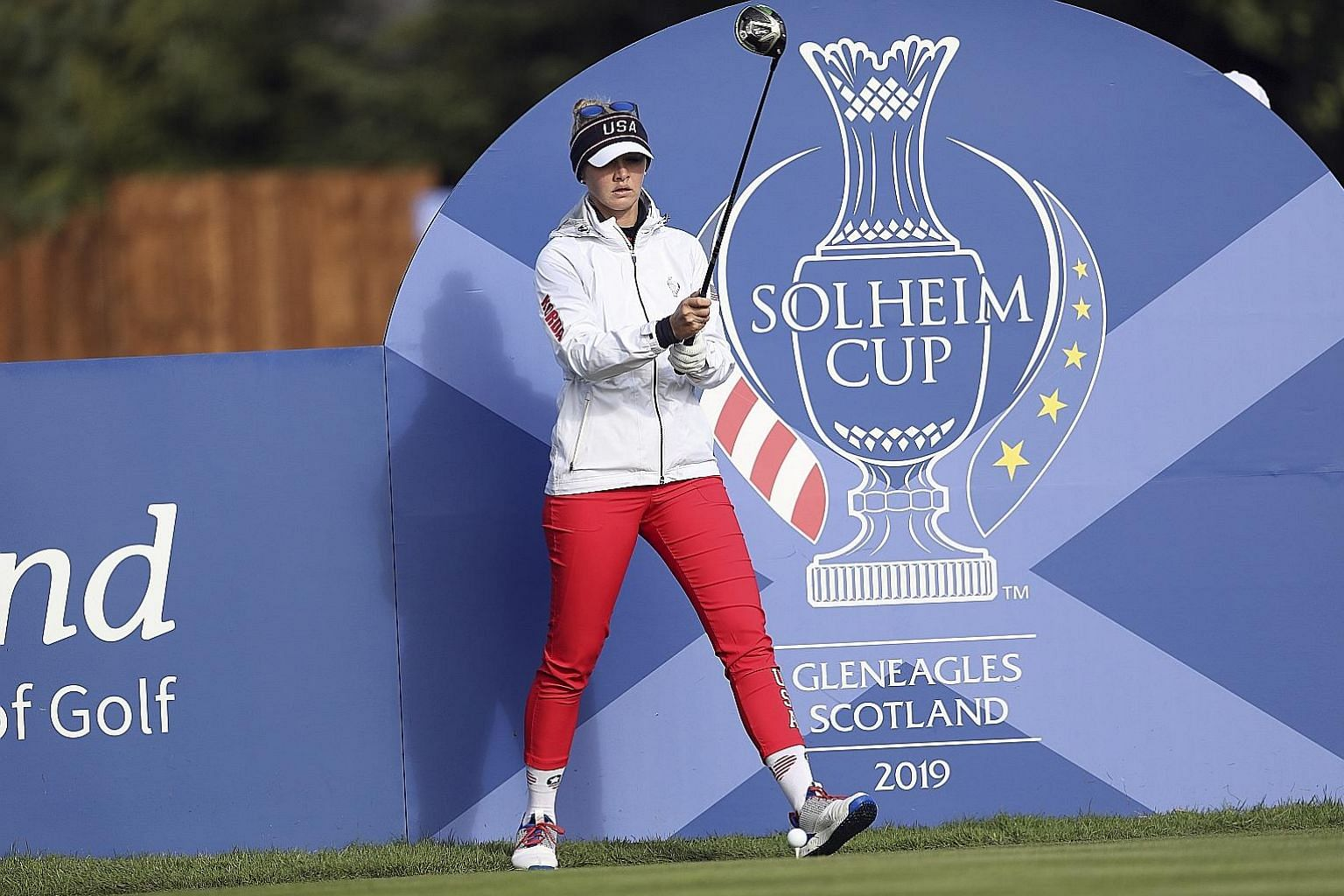 American Jessica Korda lining up her drive on the 14th hole during a practice round for the Solheim Cup on Wednesday. The US are hoping for a third successive victory in the biennial tournament.