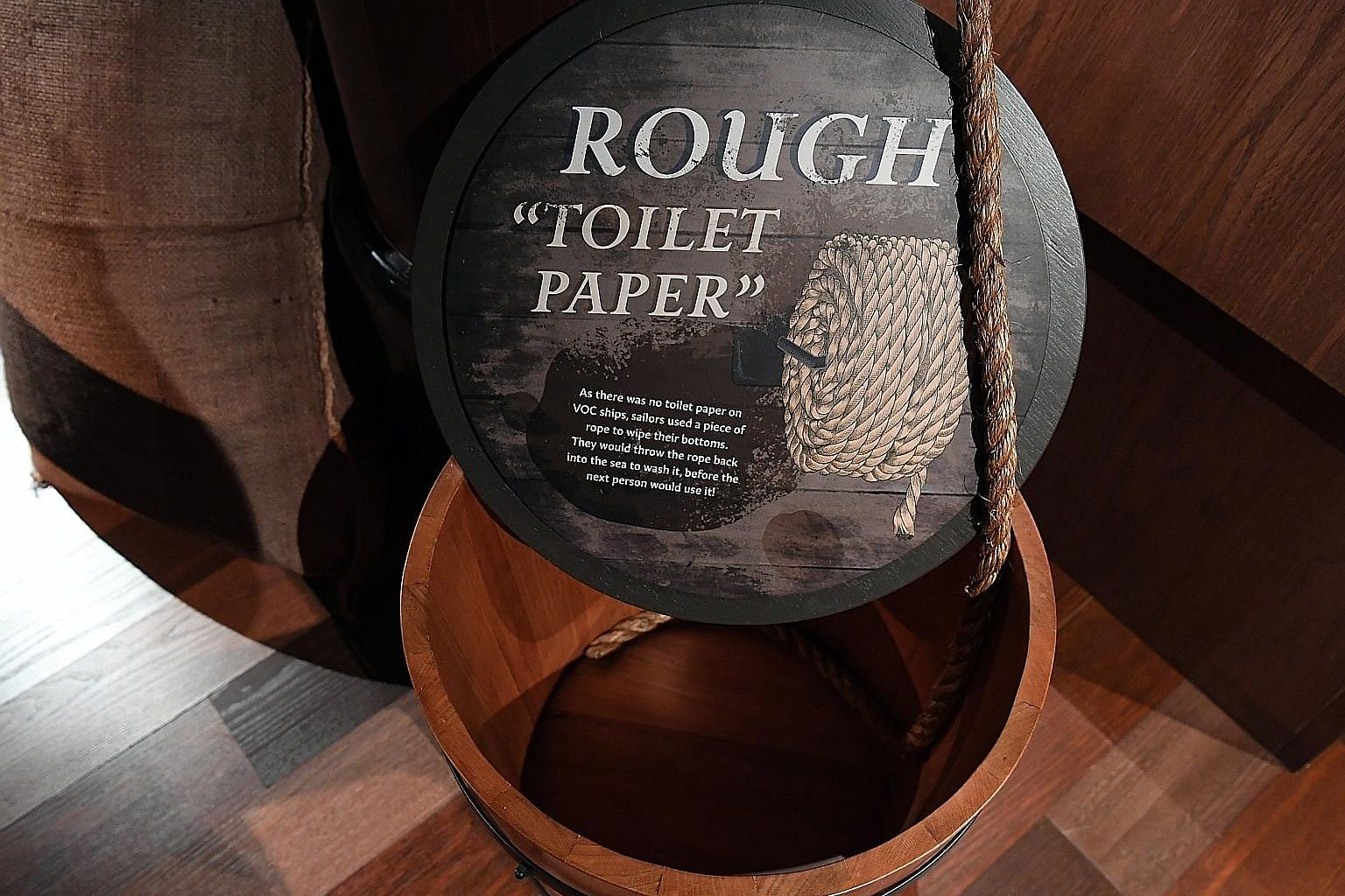 A display at the exhibition, An Old New World, depicts what toilets were like on board a 17th-century Dutch East India Company ship.
