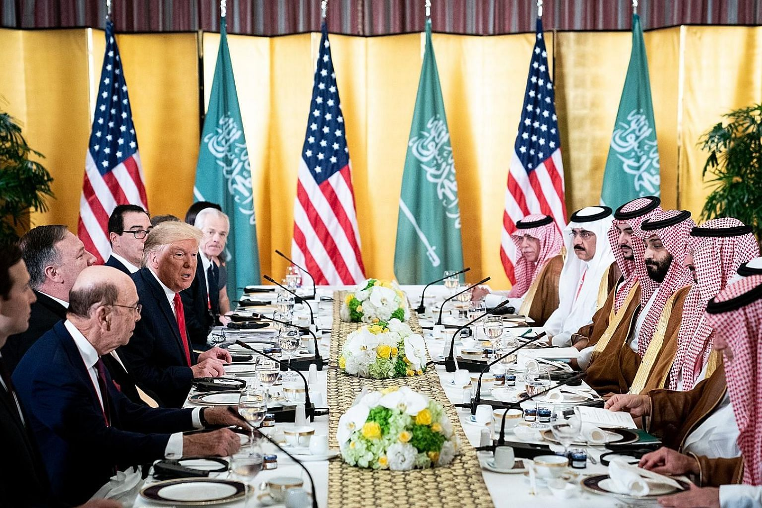 US President Donald Trump meeting a Saudi delegation led by Crown Prince Mohammed bin Salman (across from Mr Trump) at the Group of 20 summit in Osaka, Japan, in June.