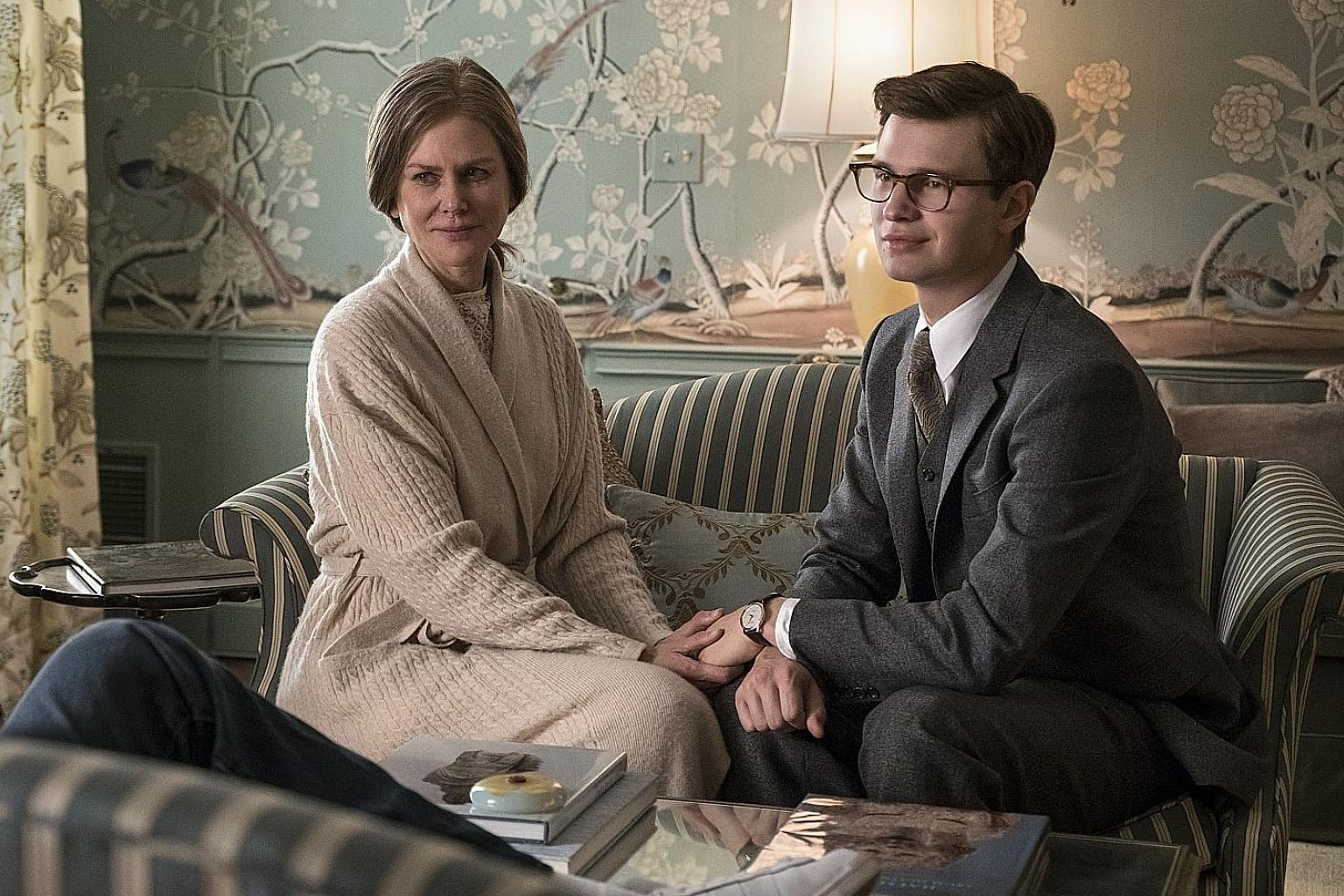 Nicole Kidman plays Samantha Barbour and Ansel Elgort (both left) plays Theo Decker in The Goldfinch.