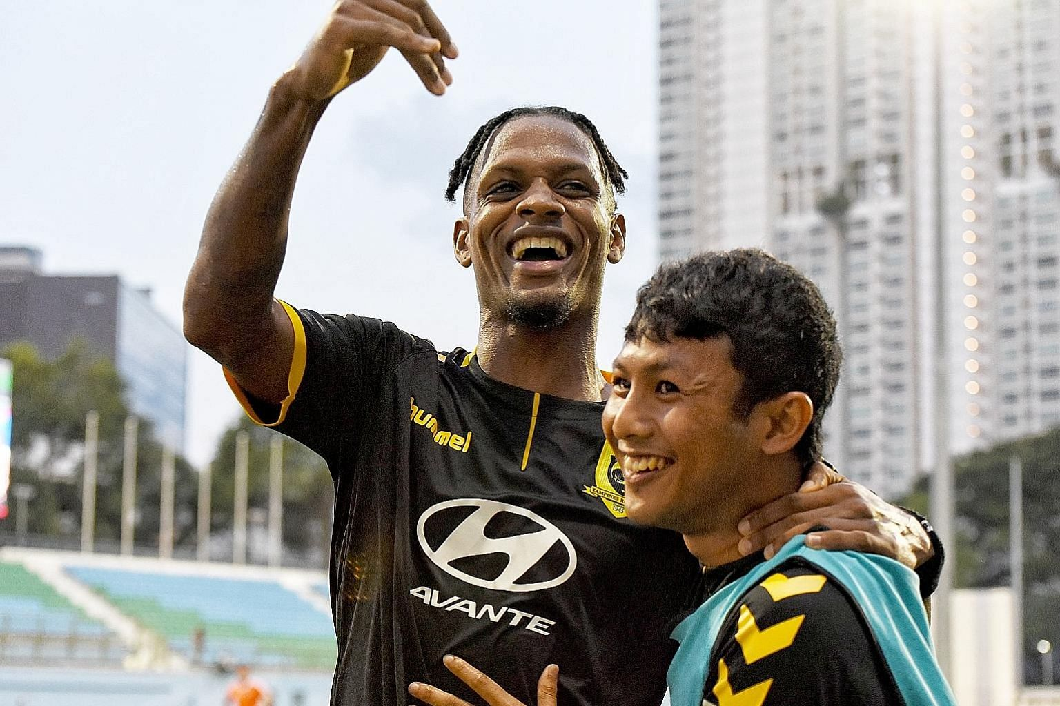 Jordan Webb celebrating with Zulfadhmi Suzliman after scoring a goal back in July. His strike last night in Bandar Seri Begawan gave Tampines full points and keeps their hopes of finishing second alive. ST FILE PHOTO