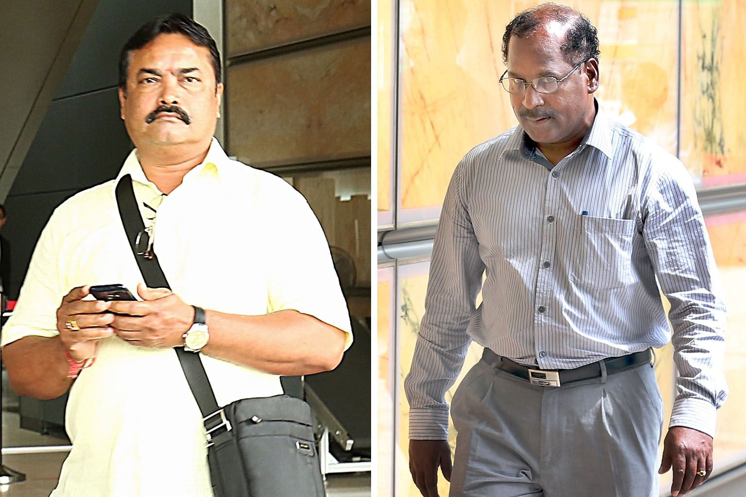 Construction worker Kulandaivelu Malayaperumal (far left) and Mr Gopal Subramaniam were ordered to return a total of $3 million that the late Dr Freda Paul, who had dementia, had given to them. The money came from the sale proceeds of her Haig Road b