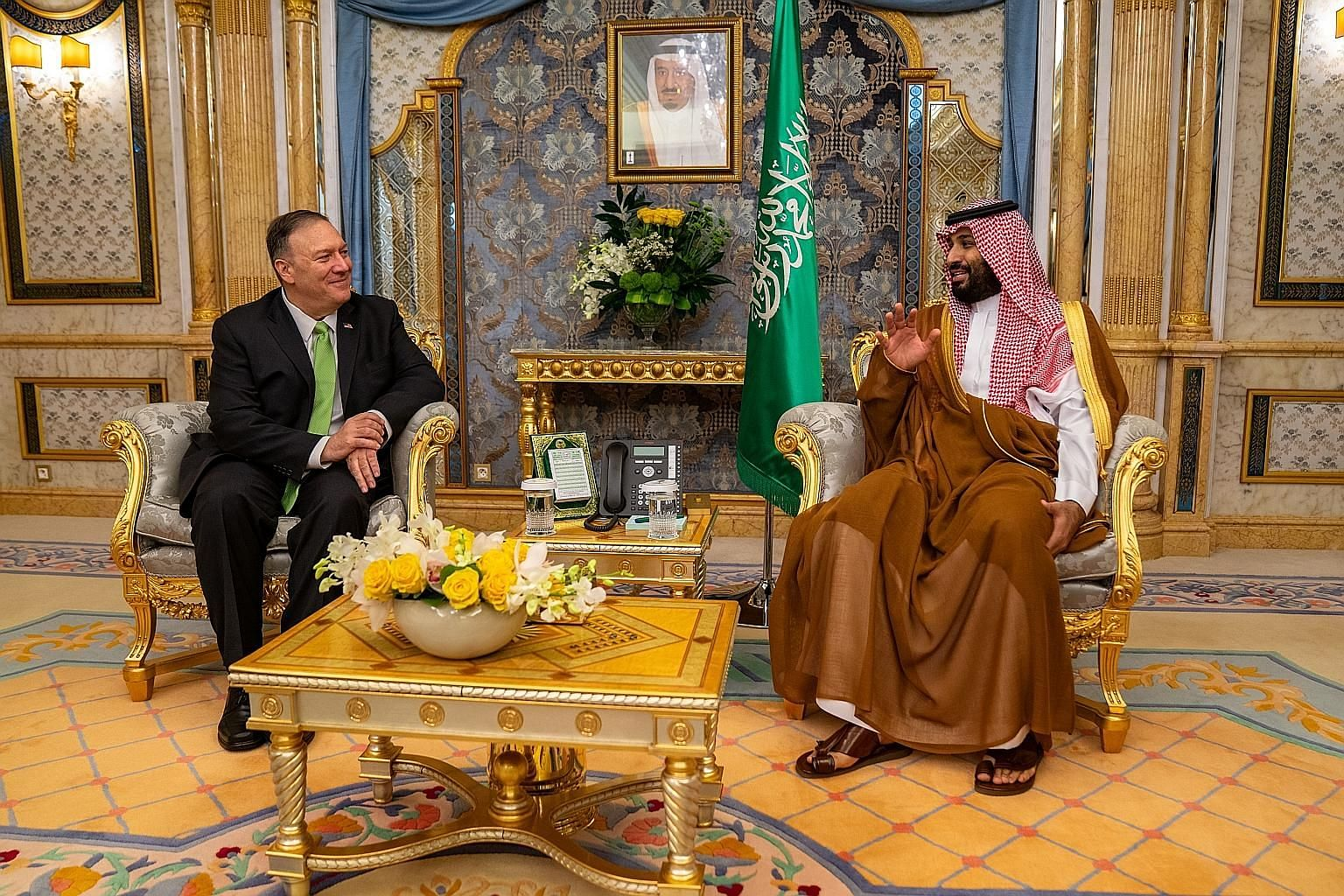 US Secretary of State Mike Pompeo met Saudi Crown Prince Mohammed bin Salman in Jeddah on Wednesday to discuss last Saturday's drone and cruise missile attacks on an oil processing facility and oil field in the kingdom. PHOTO: EPA-EFE