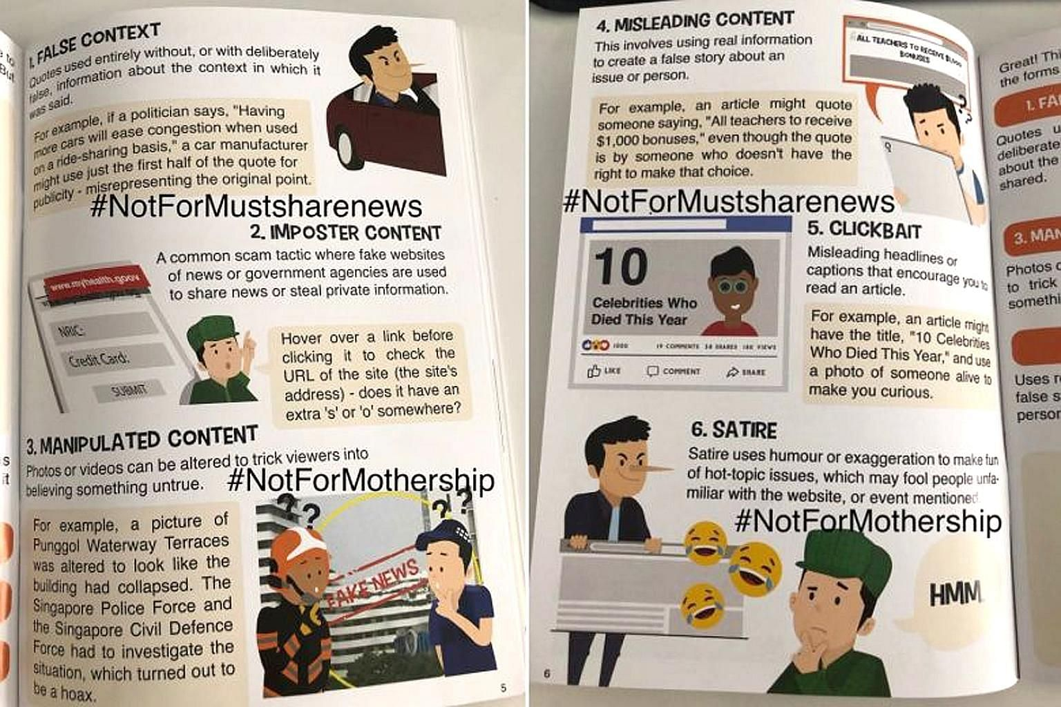 """Reddit user ongcs, who posted photos of the booklet online, claims his Primary 1 son got it from his school on Tuesday, over a week after policymakers said the MLC's characterisation of satire as """"fake news"""" was inaccurate."""