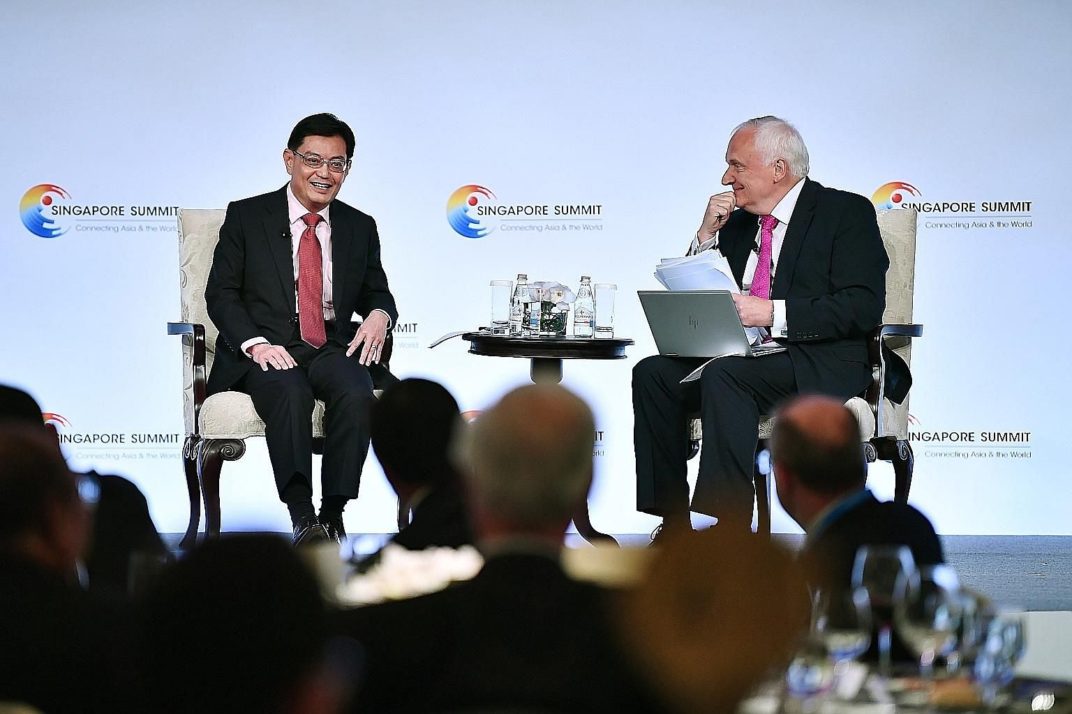Deputy Prime Minister Heng Swee Keat at a dialogue with moderator Nik Gowing at the Singapore Summit at Shangri-La Hotel yesterday. ST PHOTO: LIM YAOHUI