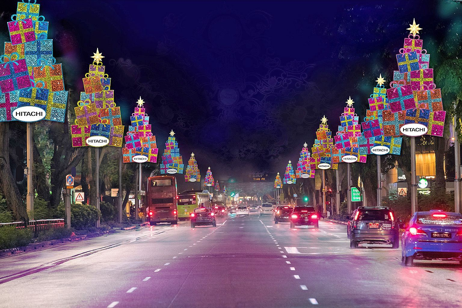 Left: An artist's impression of how the main arch of the Orchard Road Christmas light-up will look this year. Artists' impressions of the Christmas decorations that will adorn lamp posts and hang from trees this year. The light-up will run from Nov 1