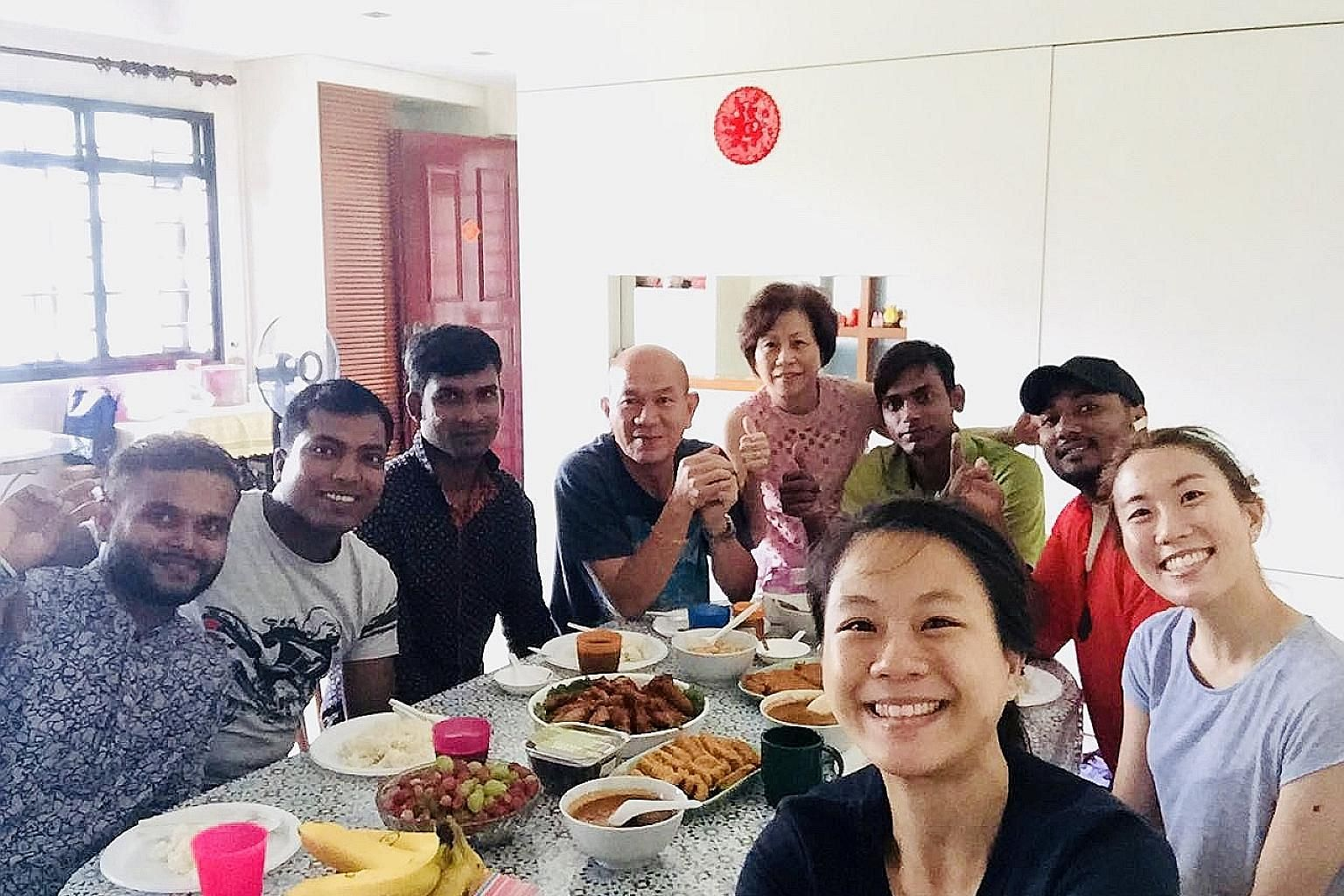 """Ms Marlene Chua (right) and her sister with their guests on June 17 last year, the third day of Hari Raya Aidilfitri and a Sunday. """"It is like having friends over,"""" said Ms Chua."""
