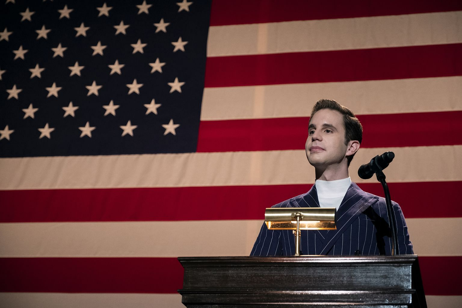 In The Politician, the characters of Ben Platt (above) and Lucy Boynton go head to head in a race to become the leader of the student council.