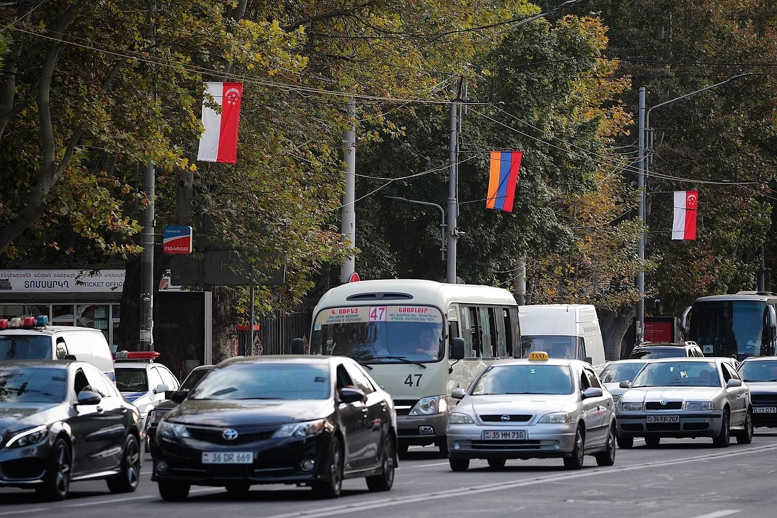 Singapore and Armenia flags lining the streets of Yerevan on Friday, ahead of Prime Minister Lee Hsien Loong's visit to the Armenian capital. The visit is the first by a Singapore prime minister to Armenia.