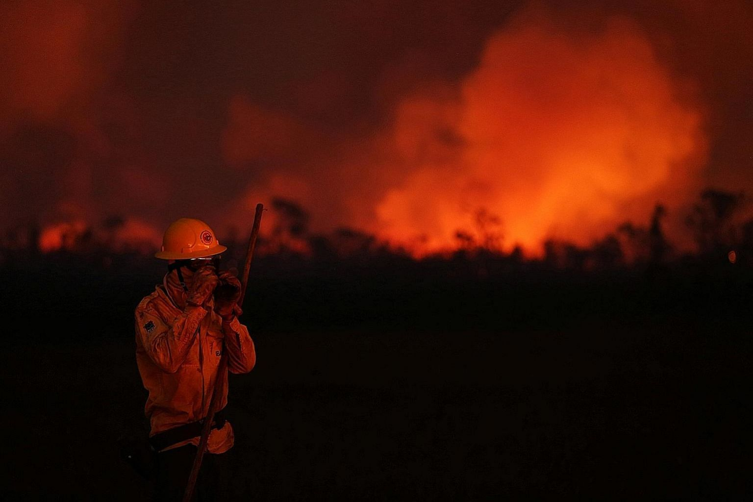 A Brazilian firefighter at the scene of a blaze in the country's Amazonas state earlier this month. As of Saturday, Brazil has recorded 142,248 fires since the start of this year, with over 51,000 occurring during the first 28 days of this month, acc