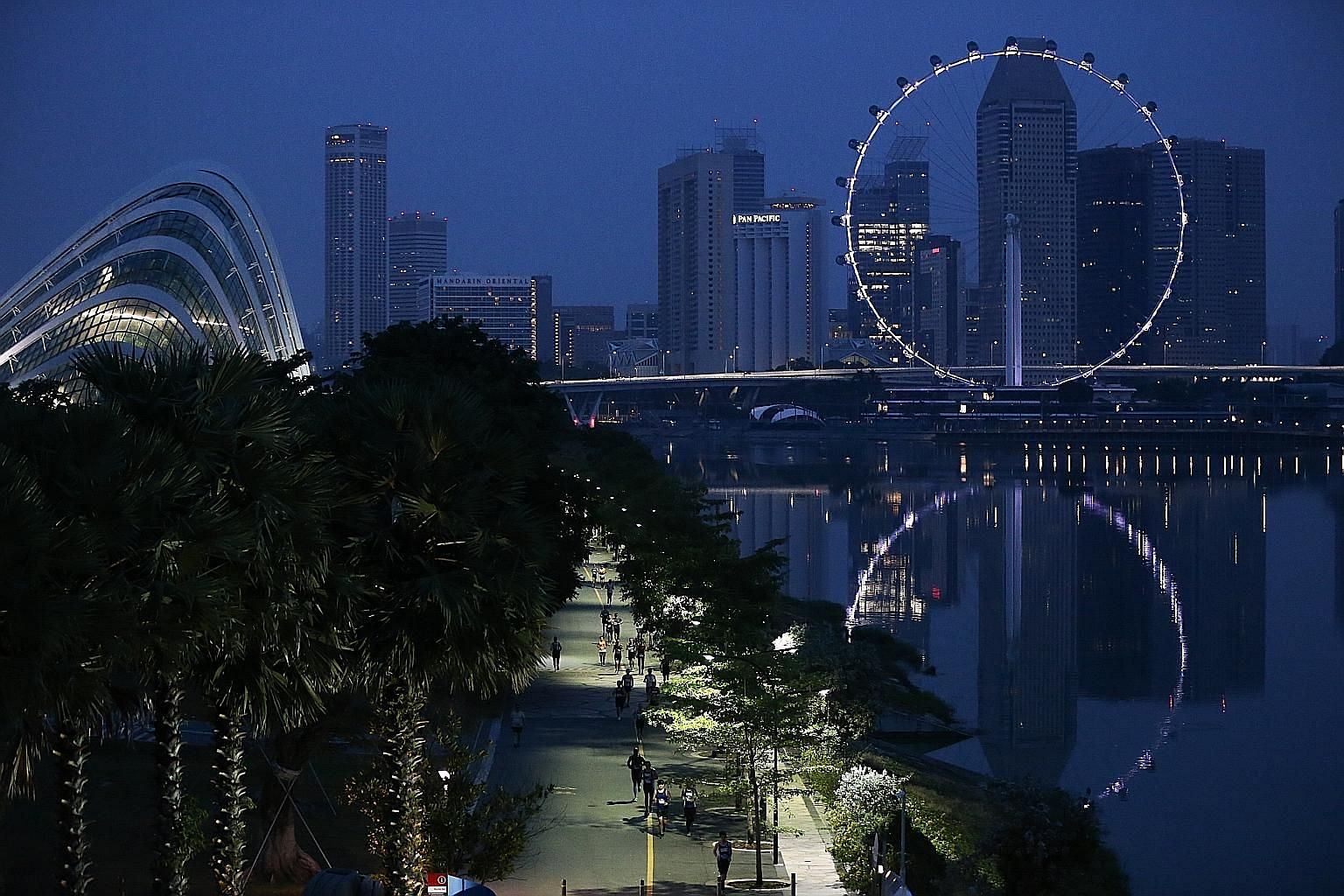 Runners in the 18.45km race along Marina Bay next to Gardens by the Bay as day breaks.