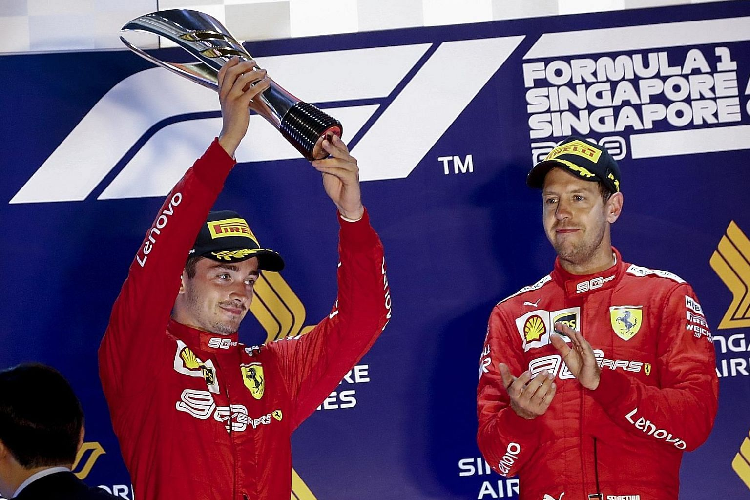 Ferrari driver Charles Leclerc (far left) has six pole positions and two wins this season, outperforming teammate Sebastian Vettel, whose only victory was clinched at the Singapore Grand Prix two weeks ago.