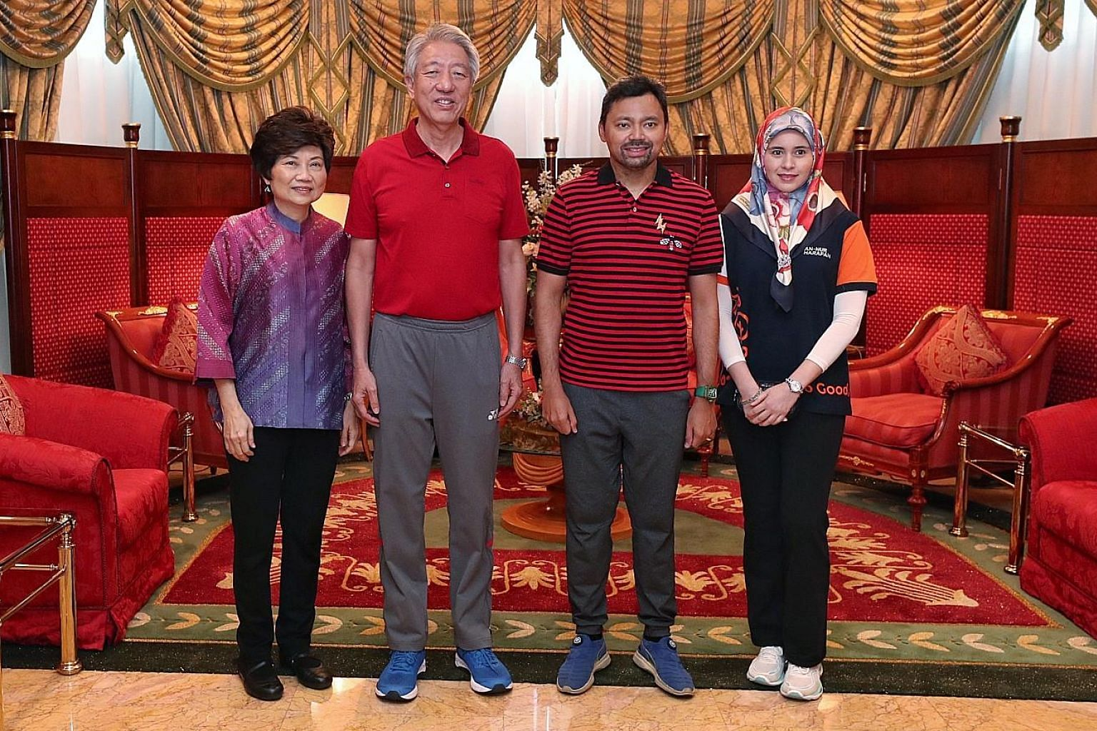 Senior Minister Teo Chee Hean and Mrs Teo with Brunei Crown Prince Haji Al-Muhtadee Billah and Princess Sarah yesterday. Fresh from visits to farms and food production facilities in Brunei during a four-day visit, SM Teo said yesterday that both coun