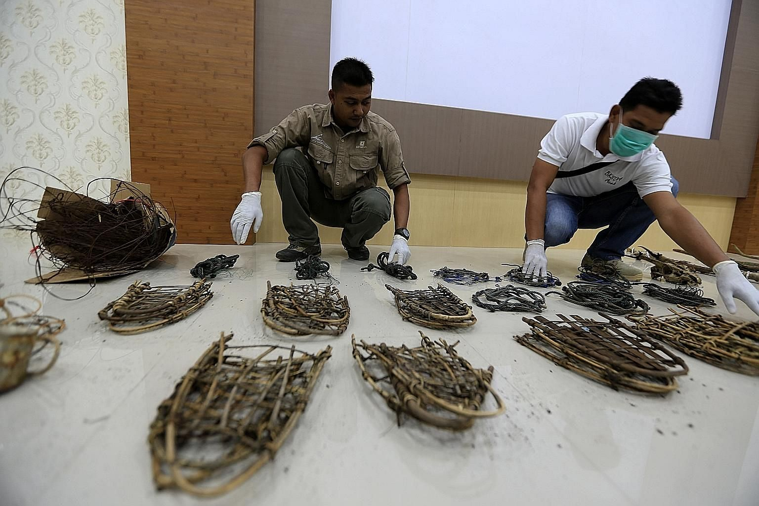 Agents from the Aceh Natural Resource Conservation Agency showing confiscated illegal traps made by poachers. The new punishment is expected to come into effect early next year and could see people convicted of endangering or exploiting wildlife rece