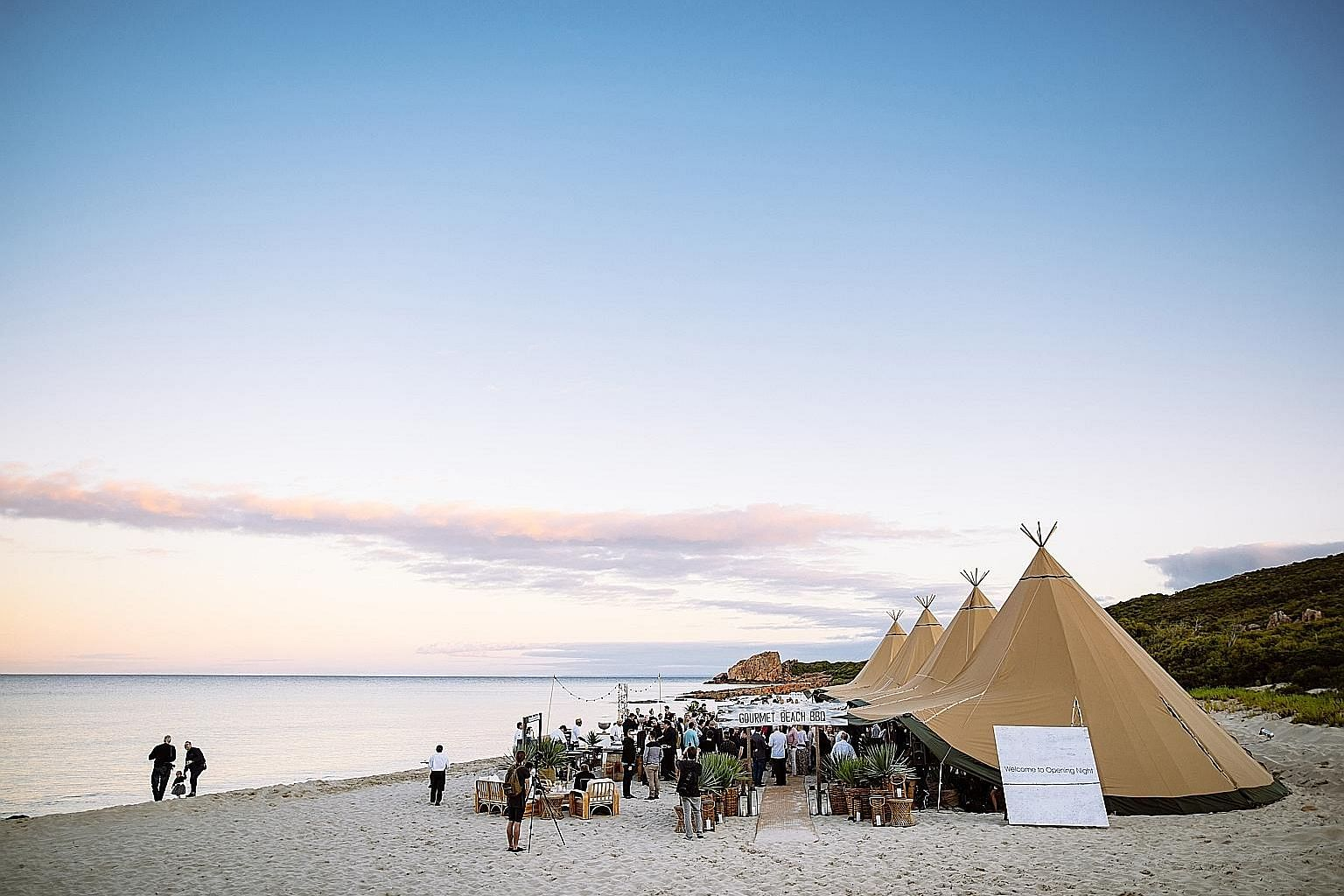 Above: A gourmet beach barbecue as part of the Western Australia Gourmet Escape festival, a 10-day event running from Nov 8 to 17. Below: Festival events may include a feast of freshly shucked oysters. There will also be cooking workshops and world-c