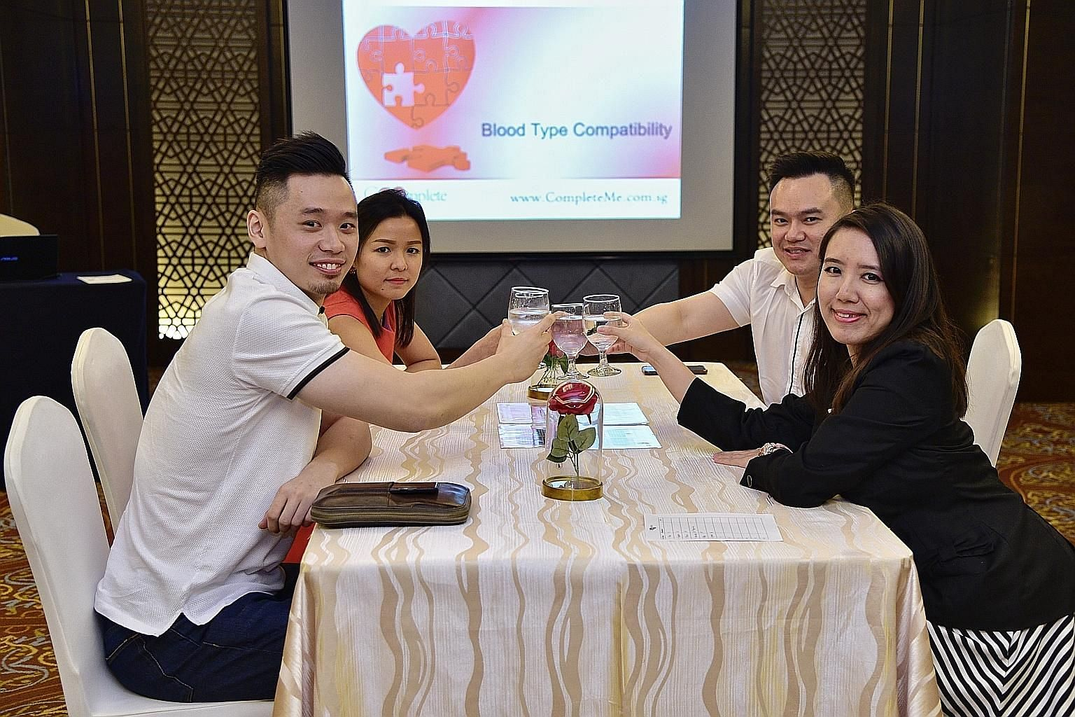 Singles taking part in a blood type dating event on Sept 20 at the Holiday Inn Singapore Orchard City Centre: (clockwise from left) Mr Travis Chia, an entrepreneur; Ms Cynthia Wong, an accountant; Mr Chin Wen Wei, an auditor; and Ms Felicia Cheng, a