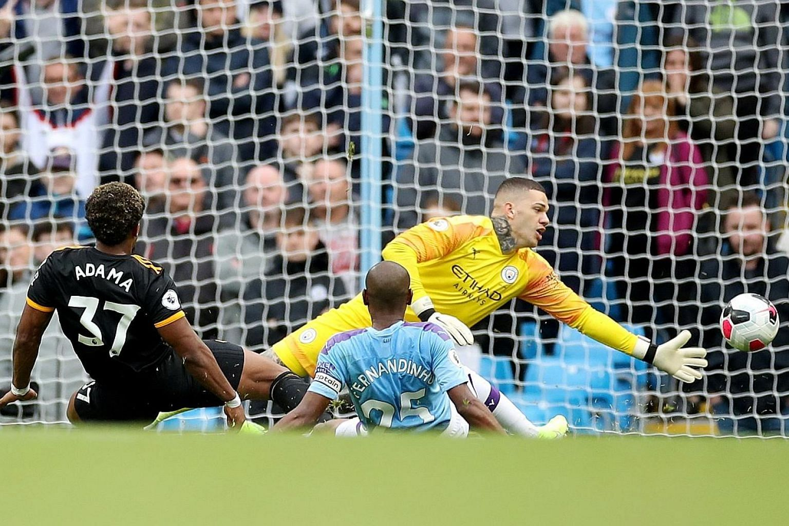 Wolves winger Adama Traore cooling slotting the ball past Manchester City goalkeeper Ederson in stoppage time. The 2-0 defeat was just the fourth time City have lost at the Etihad Stadium in 61 matches under Pep Guardiola.