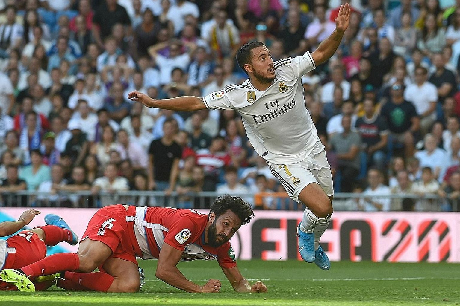 Real Madrid forward Eden Hazard finally opening his account for his new club in their 4-2 win against Granada on Saturday.