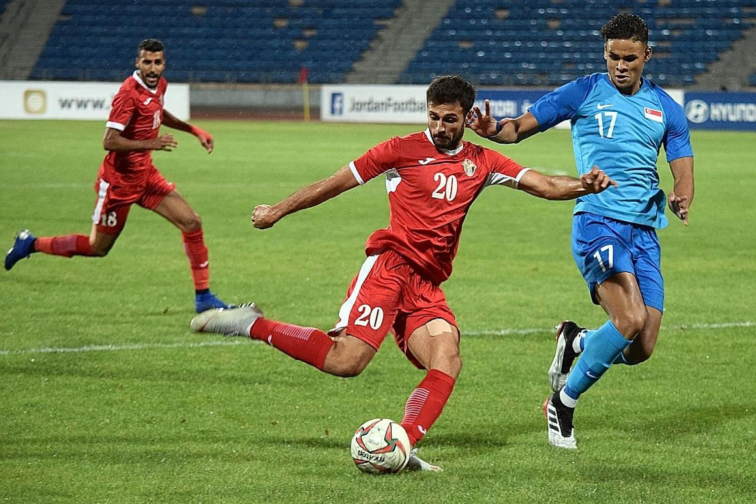 Singapore defender Irfan Fandi shadowing Jordan attacker Abdullah Al-Attar in Saturday's international friendly in Amman that ended 0-0. Saudi Arabia will surely provide much stiffer opposition in their World Cup qualifier on Thursday.