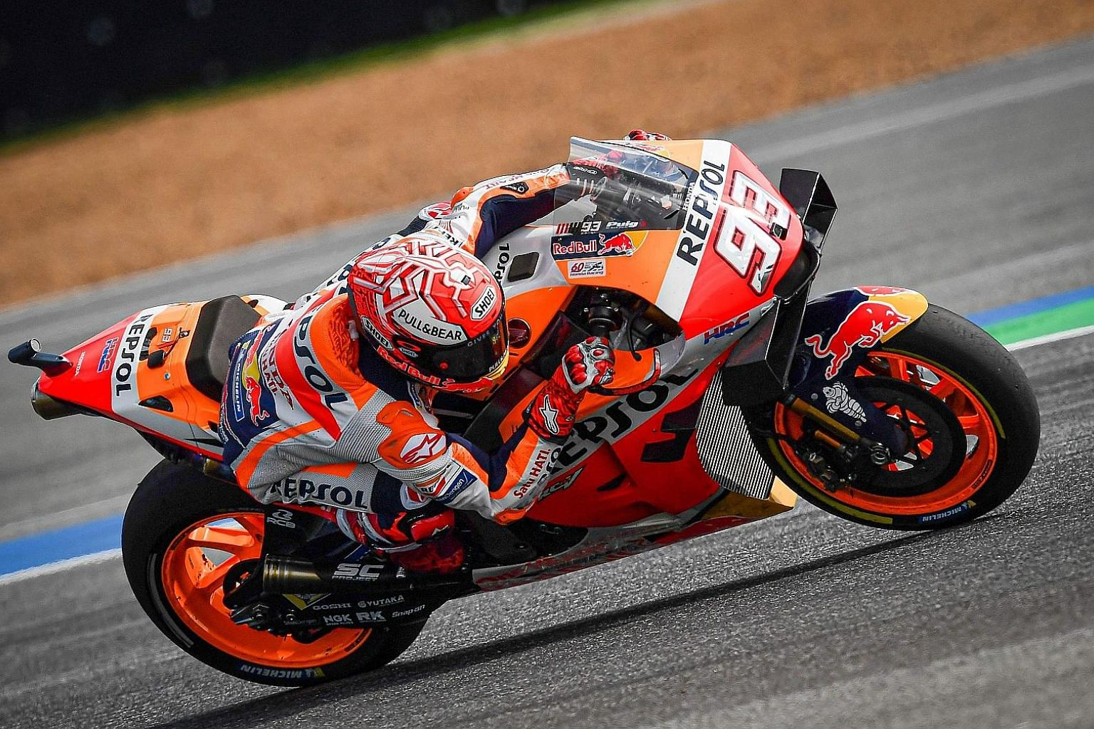 Marc Marquez on the way to retaining his Thai MotoGP title in Buriram yesterday and sealing a sixth championship in the highest class.