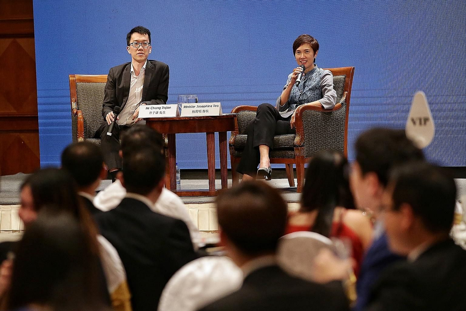 Manpower Minister Josephine Teo, speaking at a dialogue held as part of Business China Youth Chapter's 10th anniversary celebration yesterday, said multiple perspectives have to be considered to really understand how China functions. With her was BCY