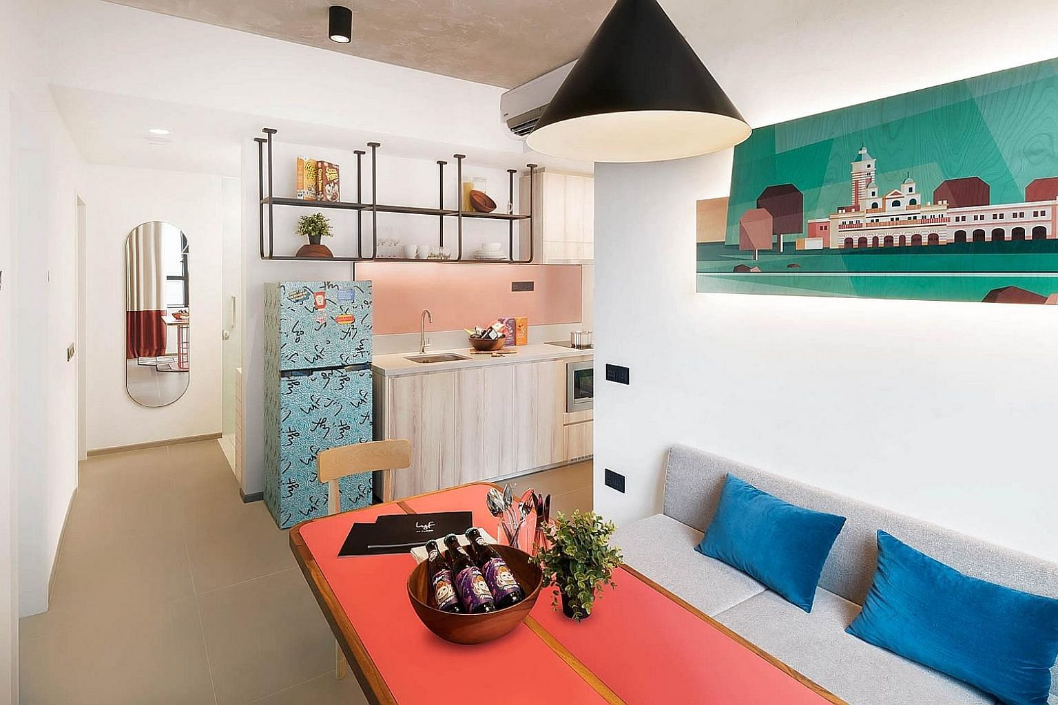 A four-bedroom unit with a shared kitchen and toilets at lyf Funan Singapore, a co-living property in Funan by The Ascott Limited.