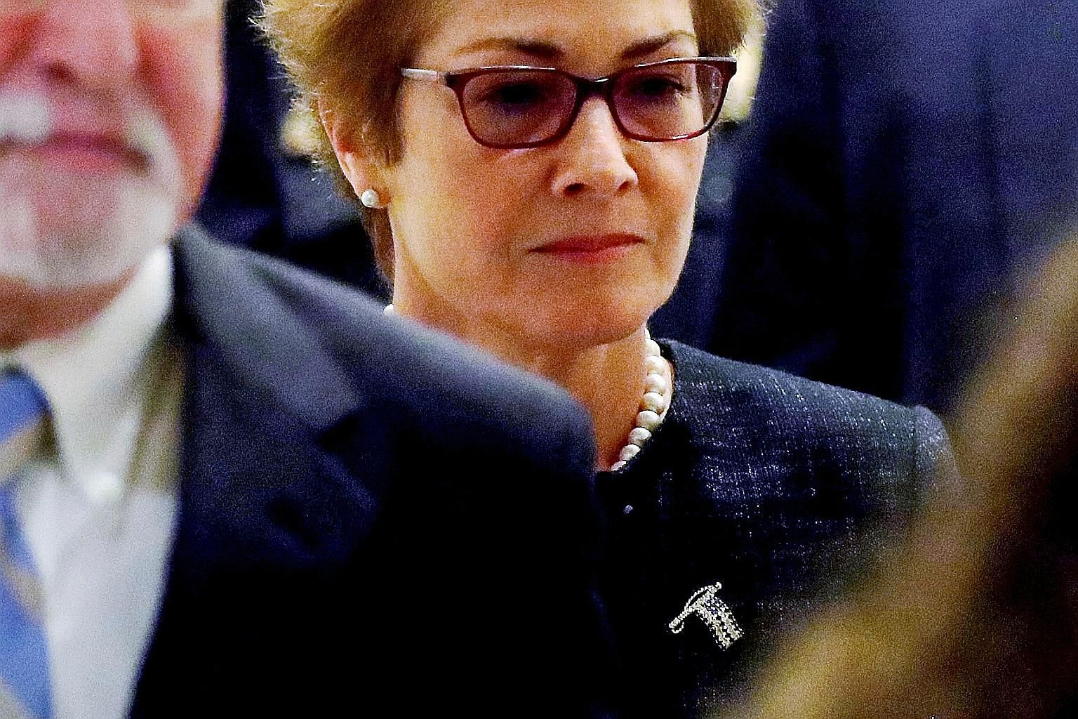 Ms Marie Yovanovitch was abruptly recalled as the US envoy to Ukraine in May. US President Donald Trump's personal lawyer Rudy Giuliani has accused her of blocking efforts to persuade Ukraine to investigate Mr Trump's domestic political rival Joe Biden an