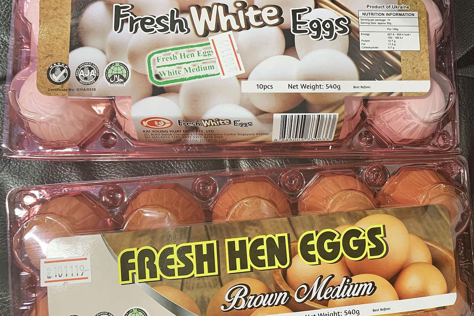 Imported eggs from Ukraine on sale at Sheng Siong supermarket.