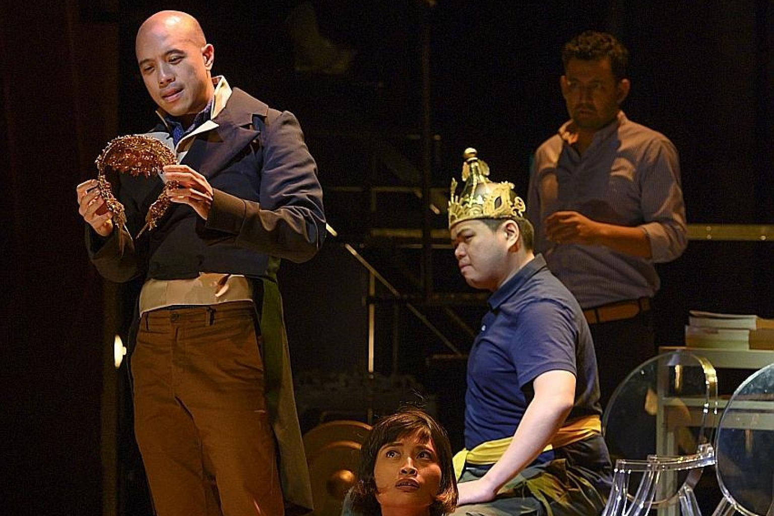 The ensemble cast throw themselves into lengthy recitatives and recreations with commendable energy. From left: Brendon Fernandez, Umi Kalthum Ismail (seated on floor), Chong Woon Yong and Ghafir Akbar.